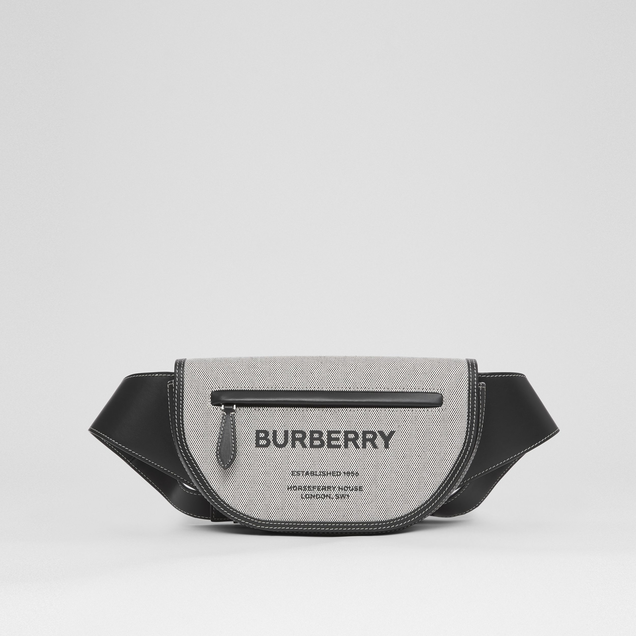 Small Horseferry Print Canvas Olympia Bum Bag in Black - Men | Burberry Singapore - 1