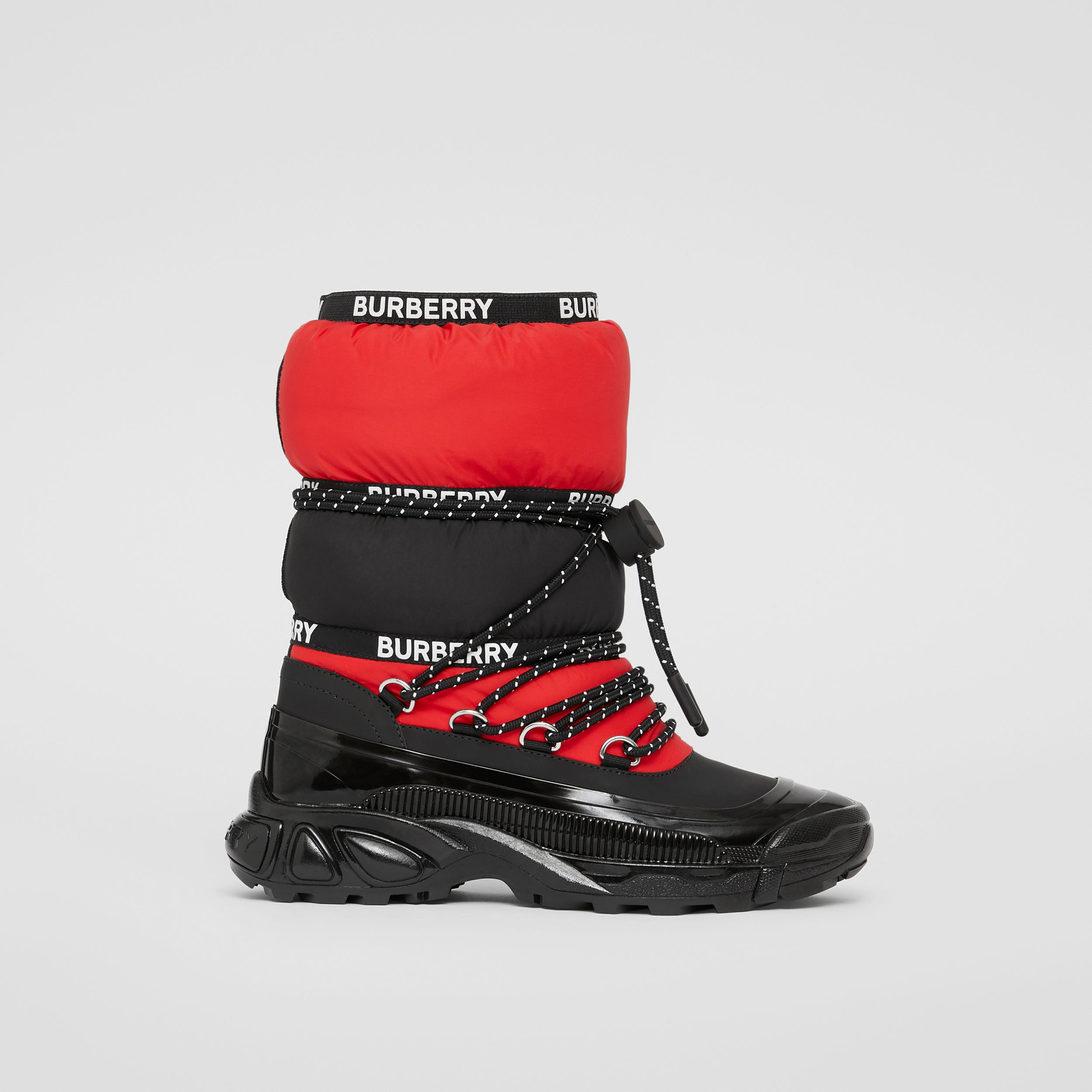 Logo Tape Colour Block Snow Boots in Black/bright Red - Children | Burberry - 4