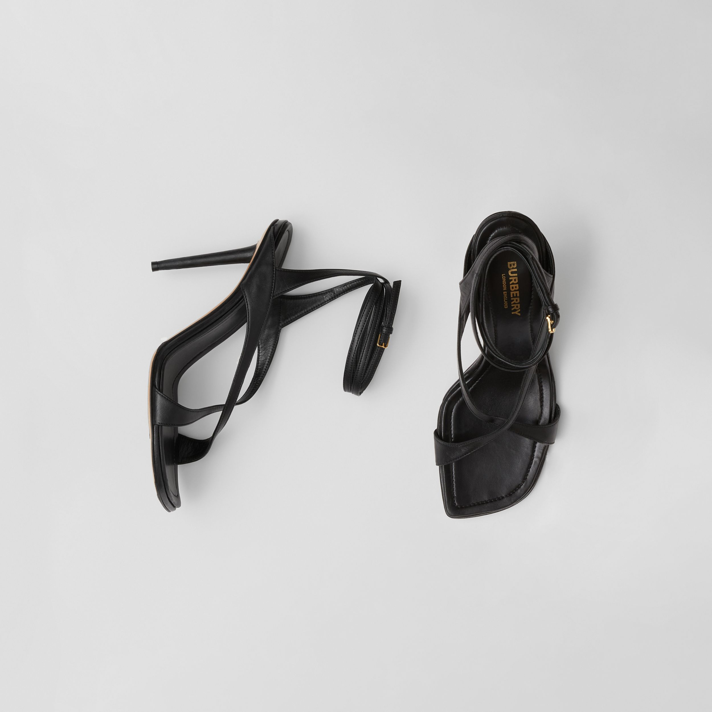 Lambskin Wraparound Stiletto-heel Sandals in Black - Women | Burberry - 1