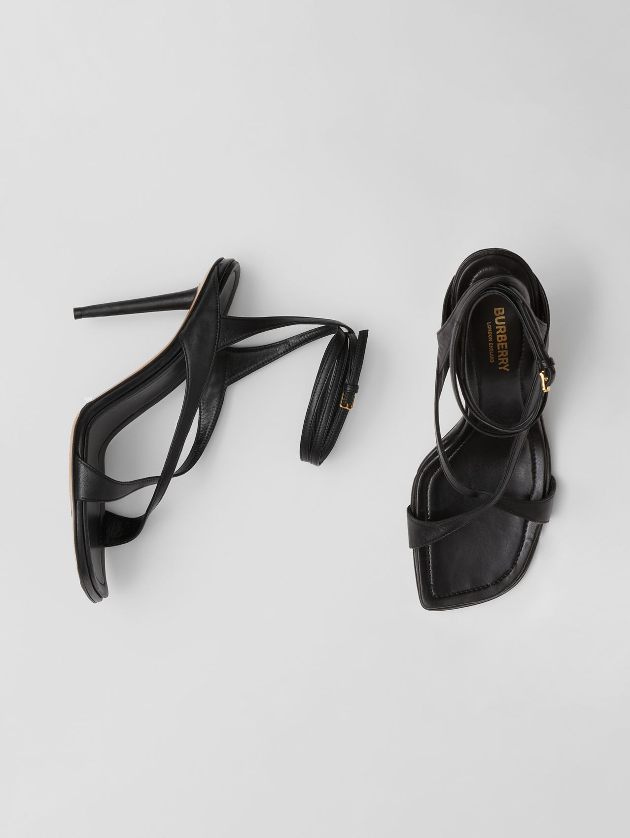 Lambskin Wraparound Stiletto-heel Sandals in Black
