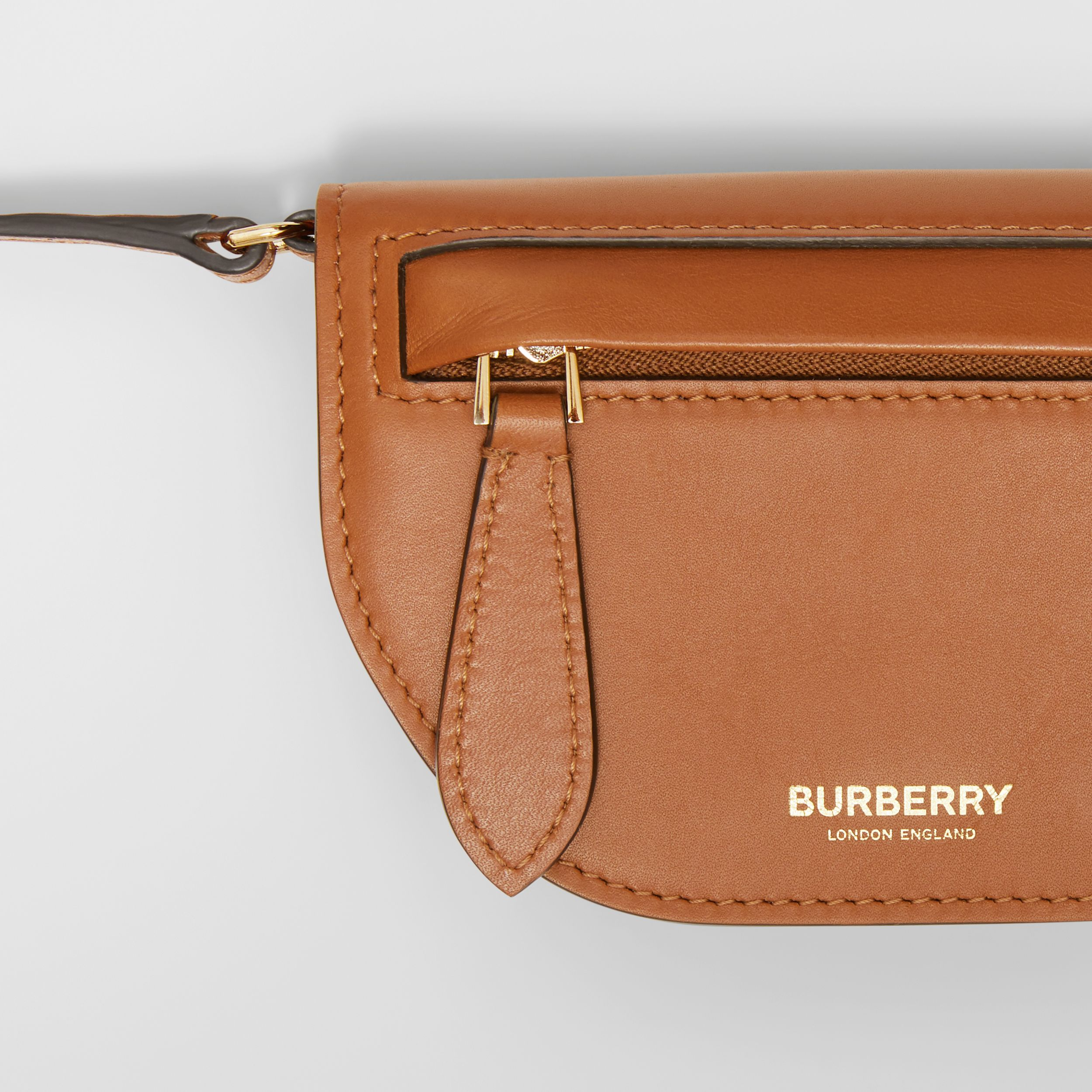 Leather Olympia Card Case with Detachable Strap in Warm Tan | Burberry - 2