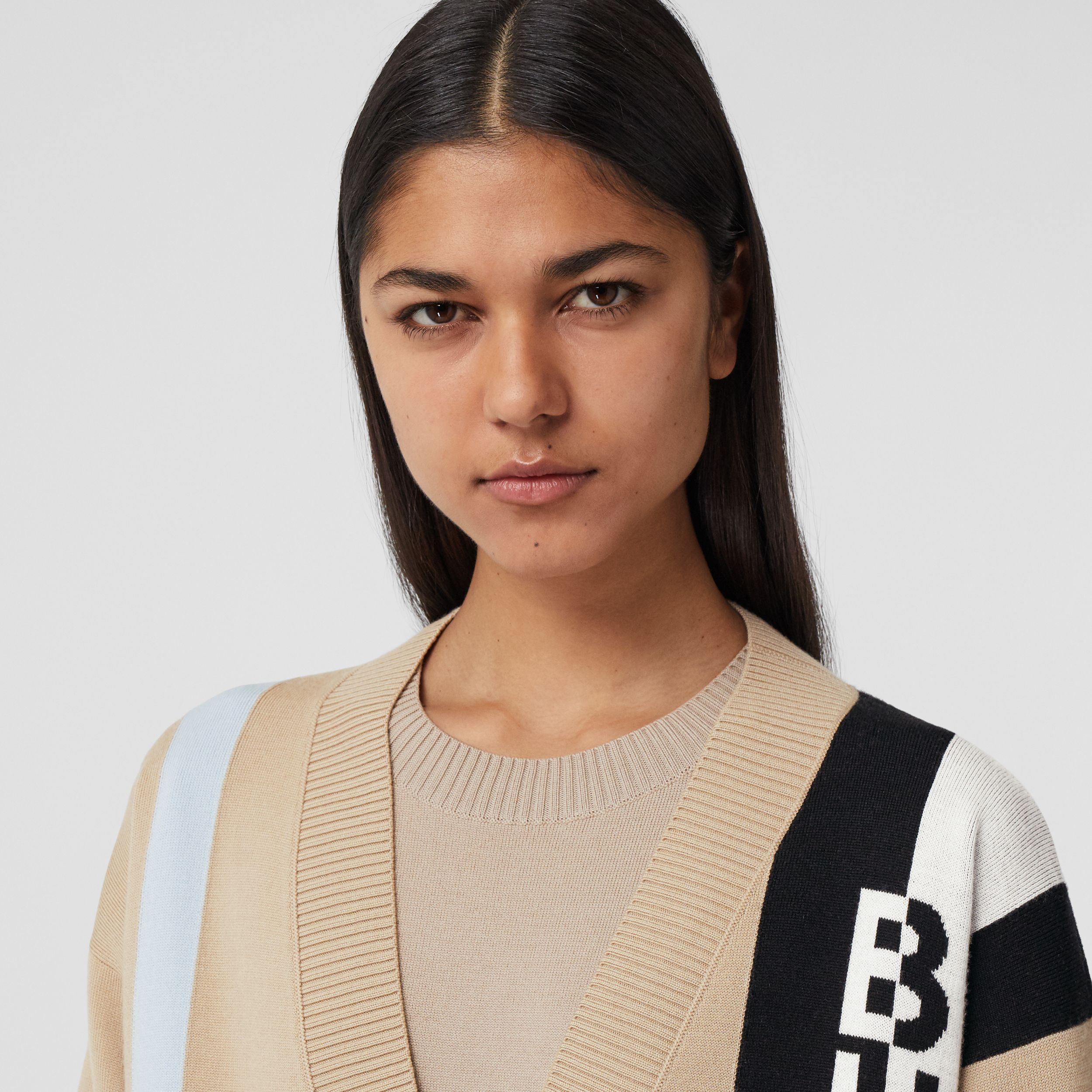 Logo Merino Wool Blend Jacquard Cardigan in Soft Fawn - Women | Burberry - 2