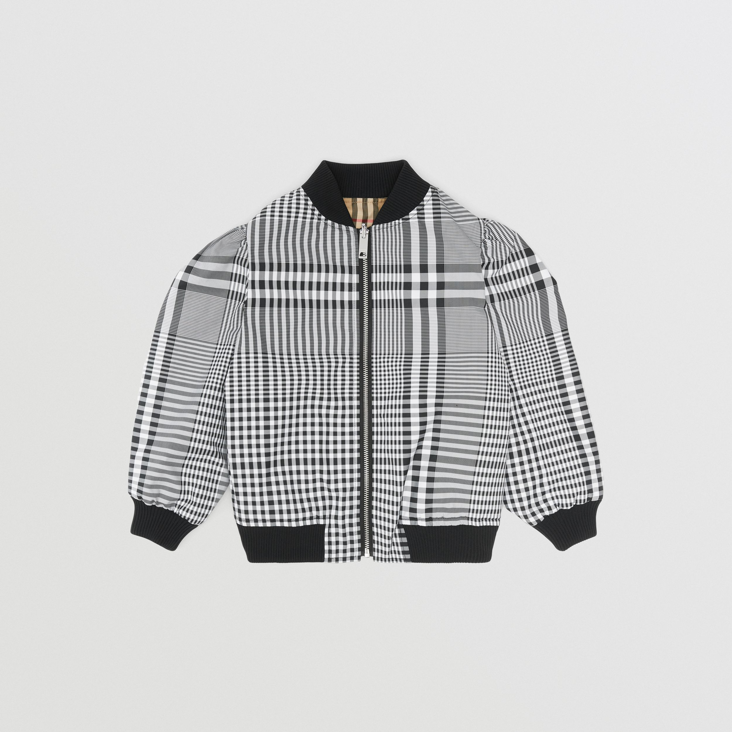 Logo Appliqué Reversible Check Bomber Jacket in Black | Burberry - 1