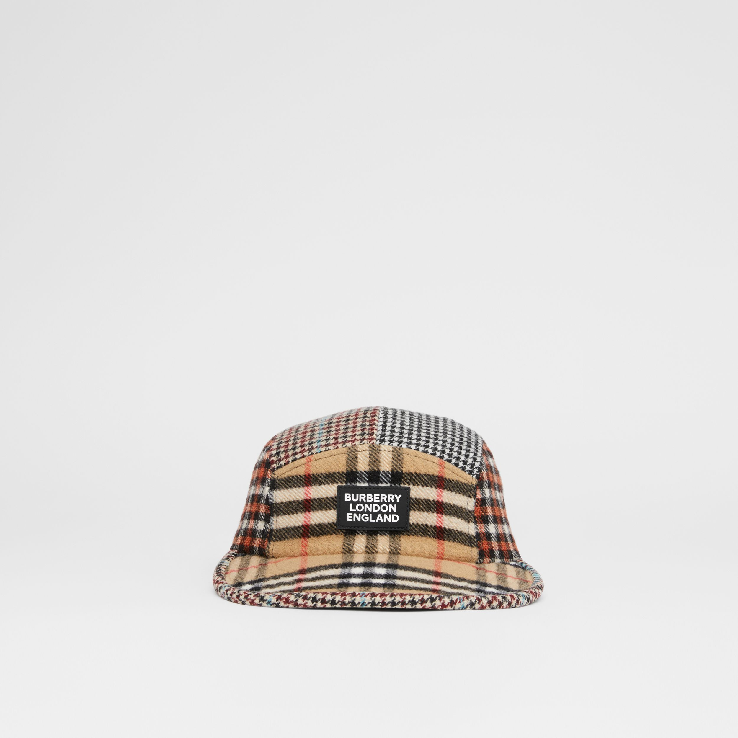Patchwork Check Technical Wool Cap in Archive Beige - Children | Burberry Australia - 1