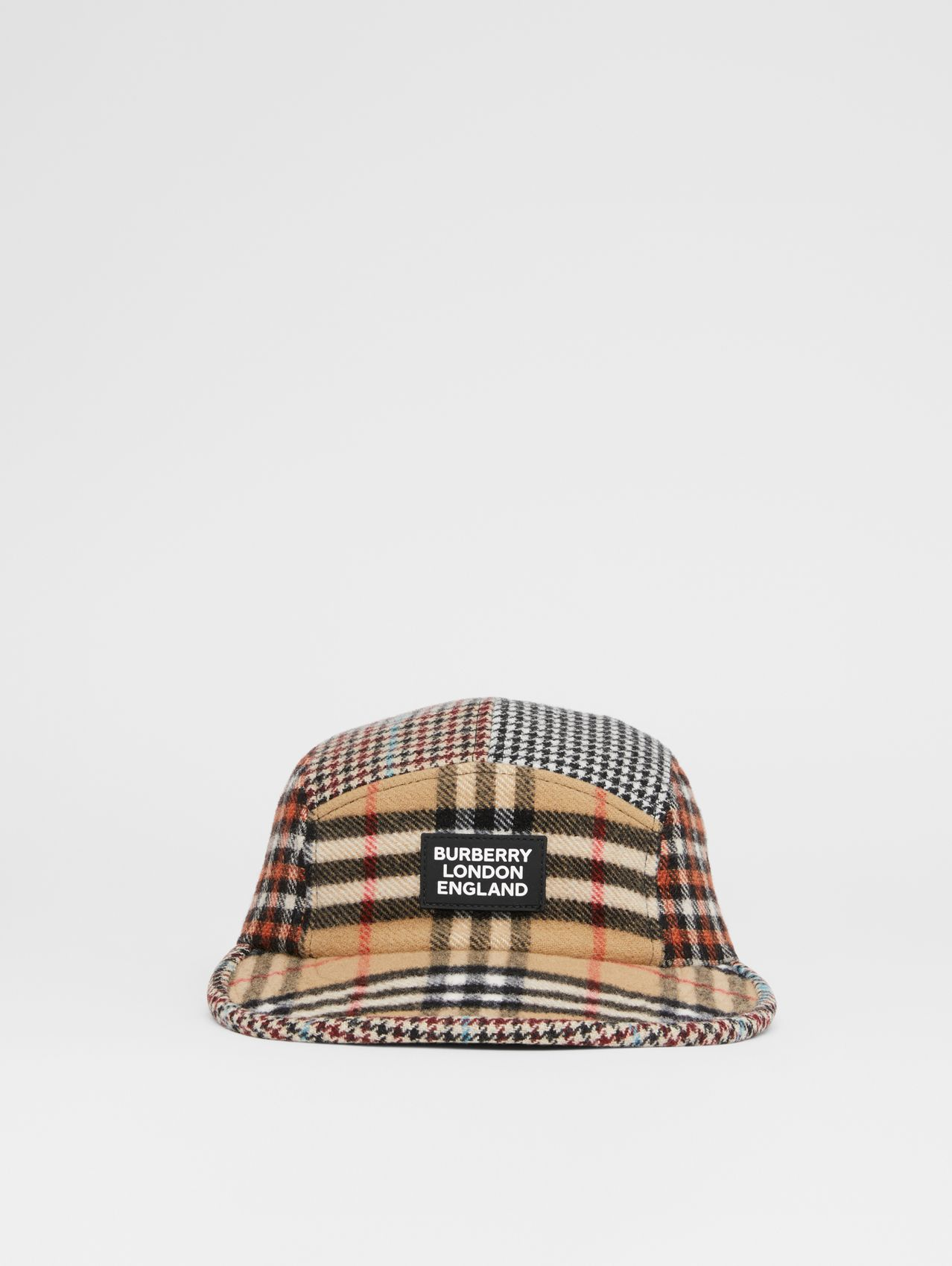Patchwork Check Technical Wool Cap in Archive Beige