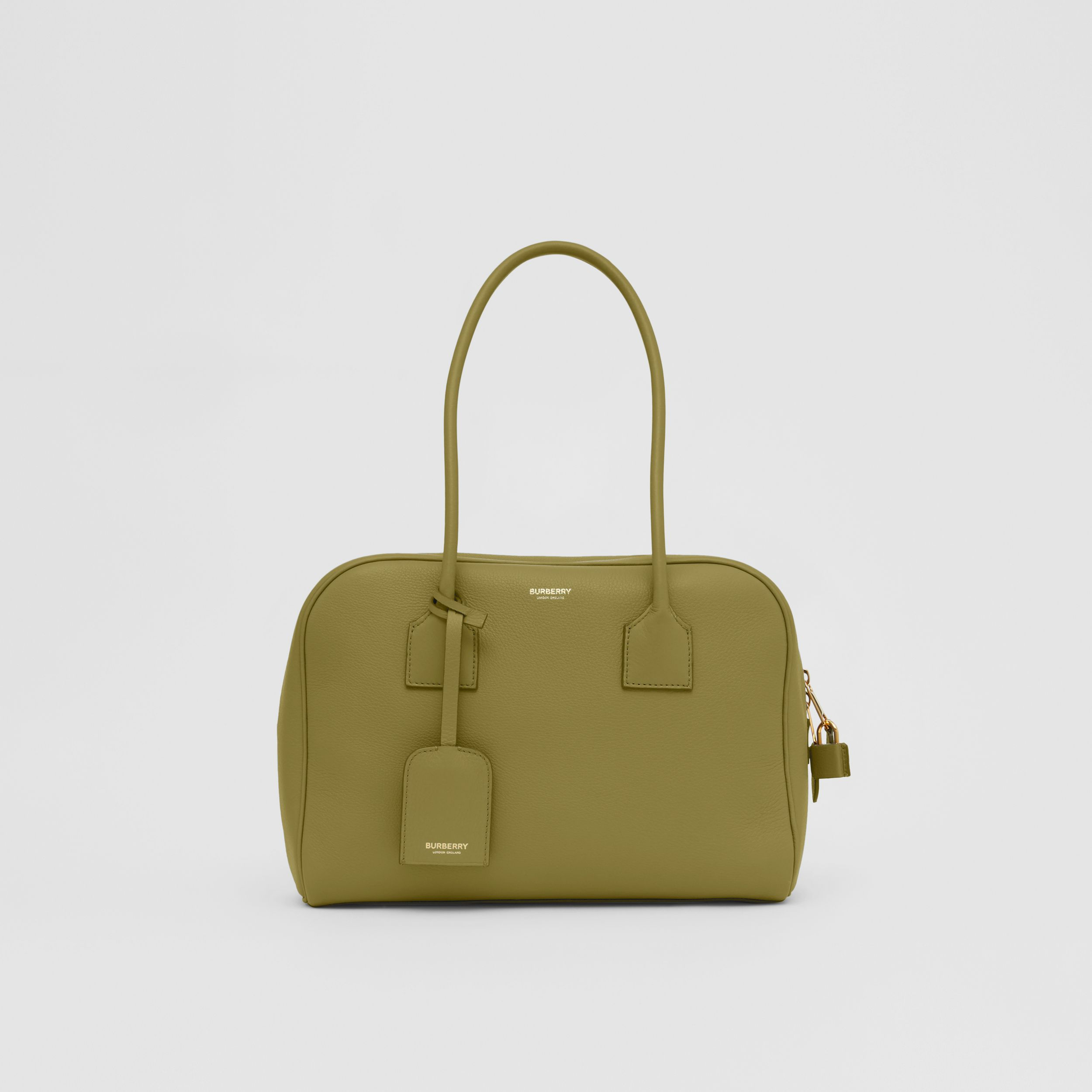 Medium Leather Half Cube Bag in Juniper Green - Women | Burberry Singapore - 1