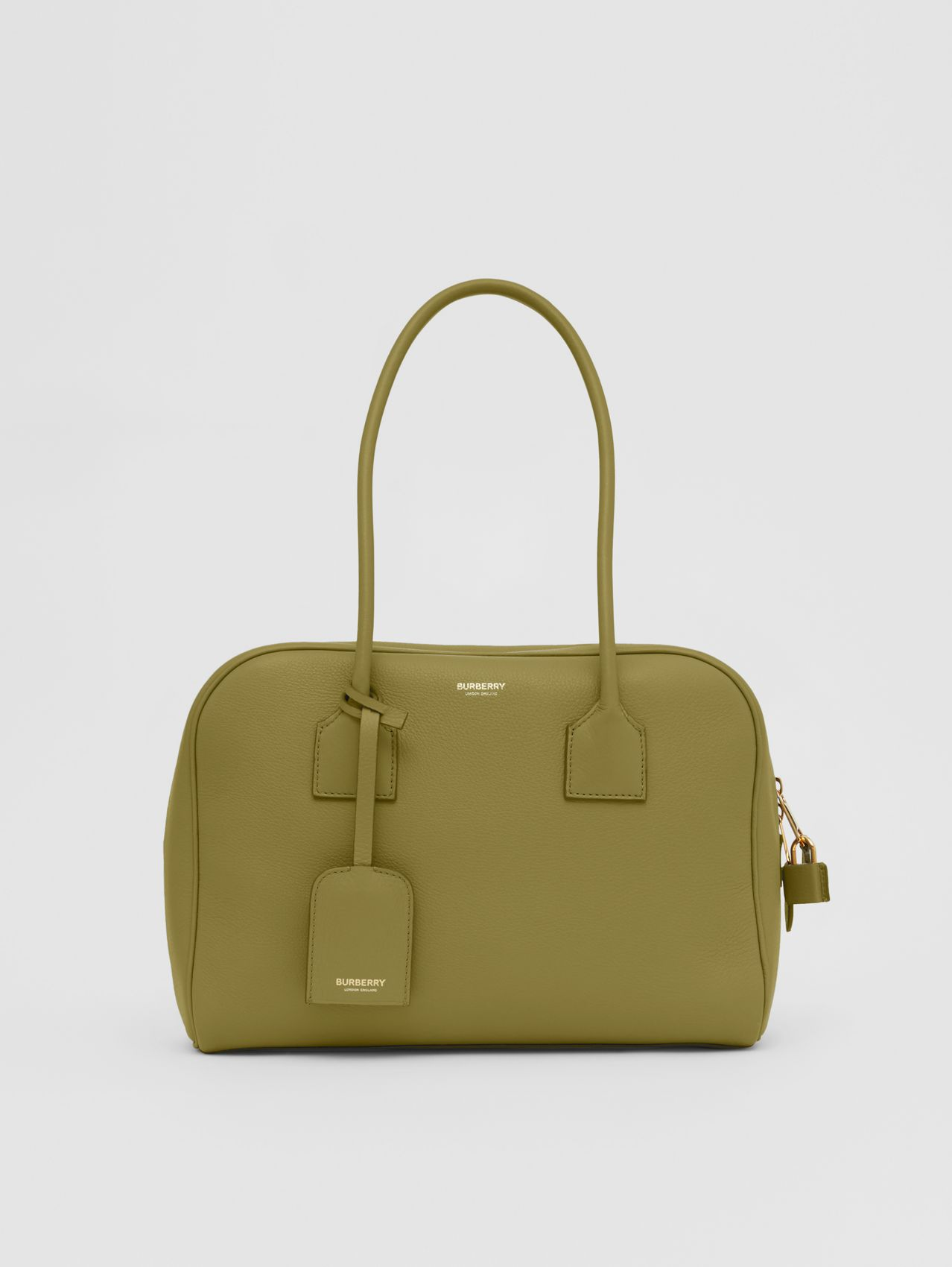 Medium Leather Half Cube Bag in Juniper Green