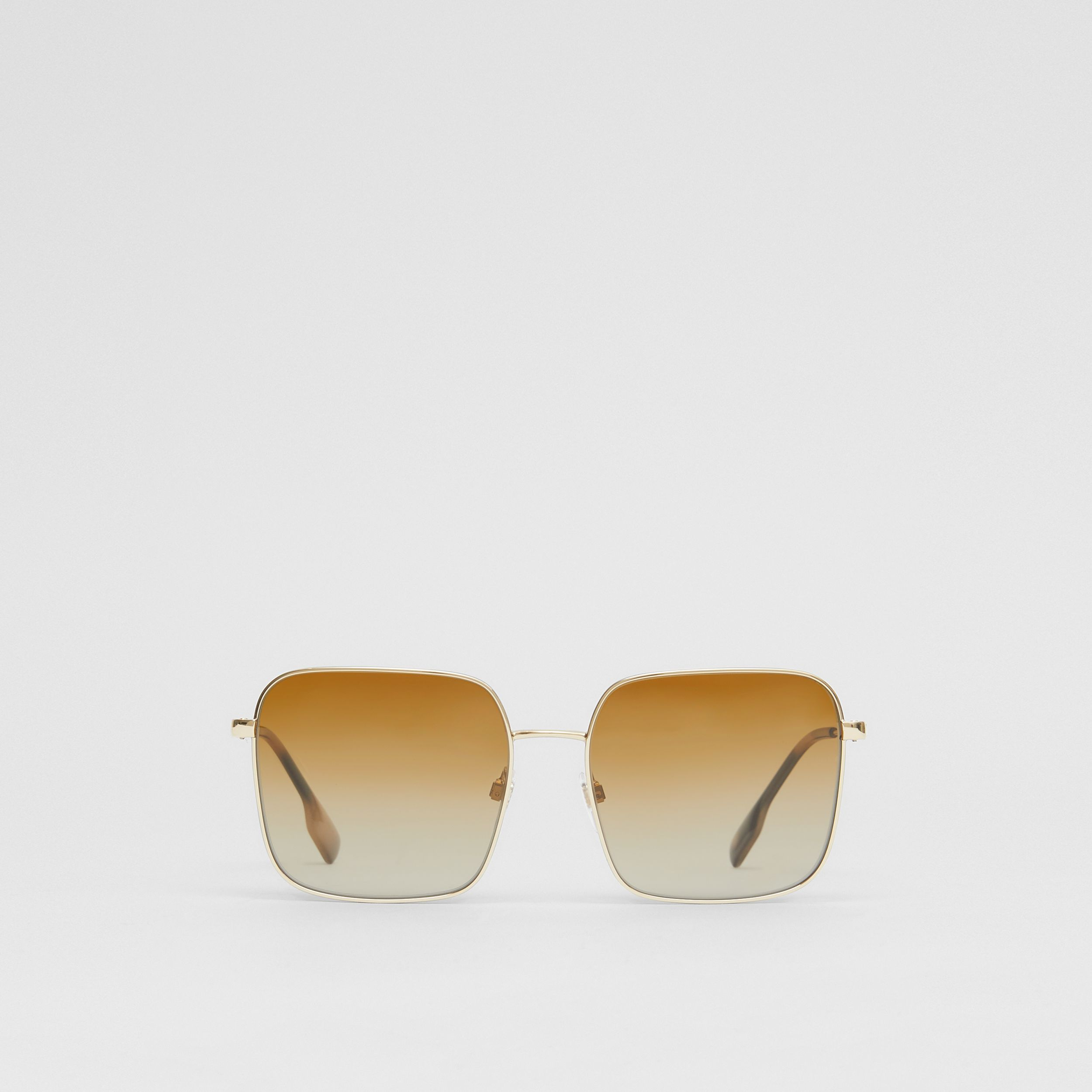 Oversized Square Frame Sunglasses in Honey Tortoiseshell - Women | Burberry - 1