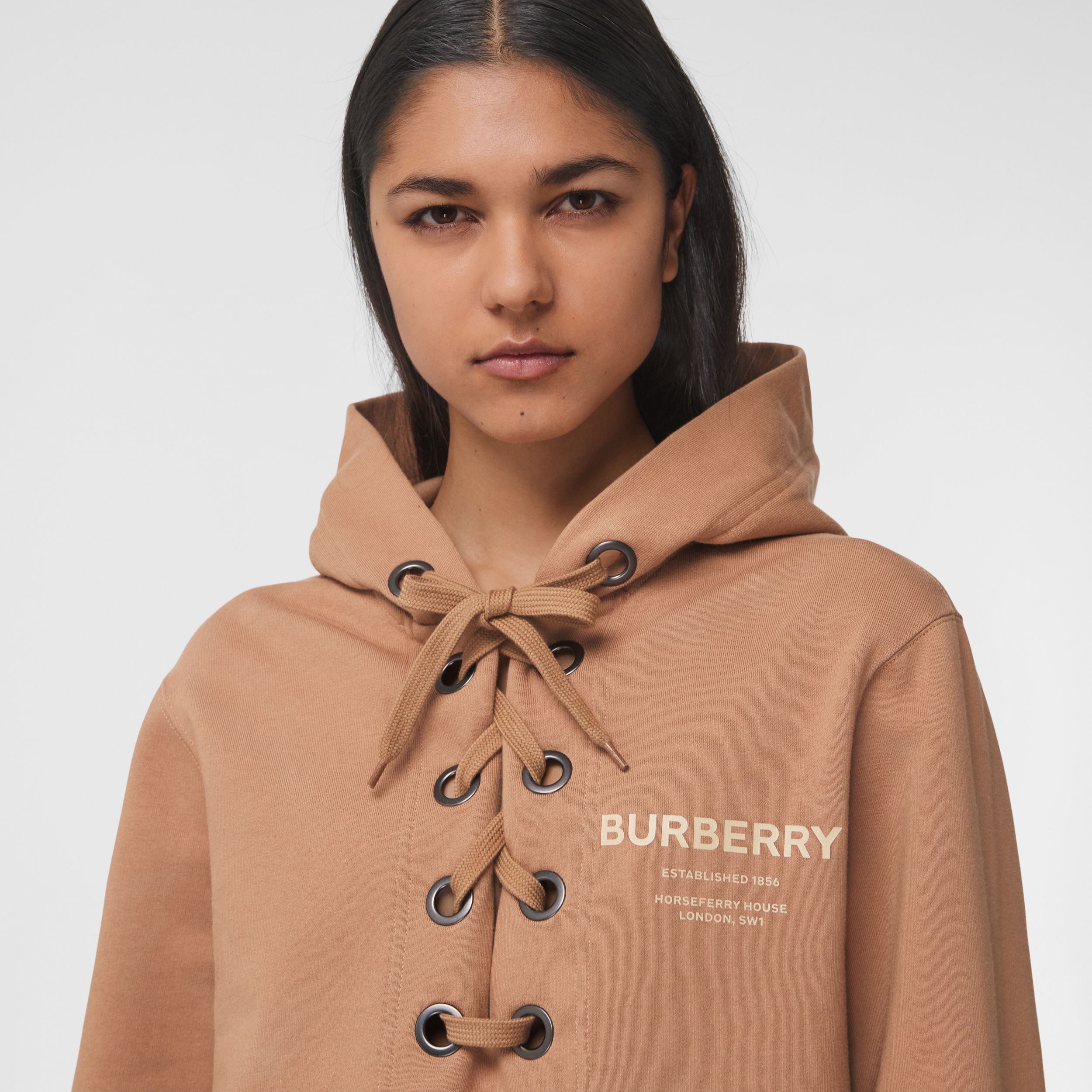 Lace-up Horseferry Print Cotton Oversized Hoodie in Camel - Women | Burberry - 2