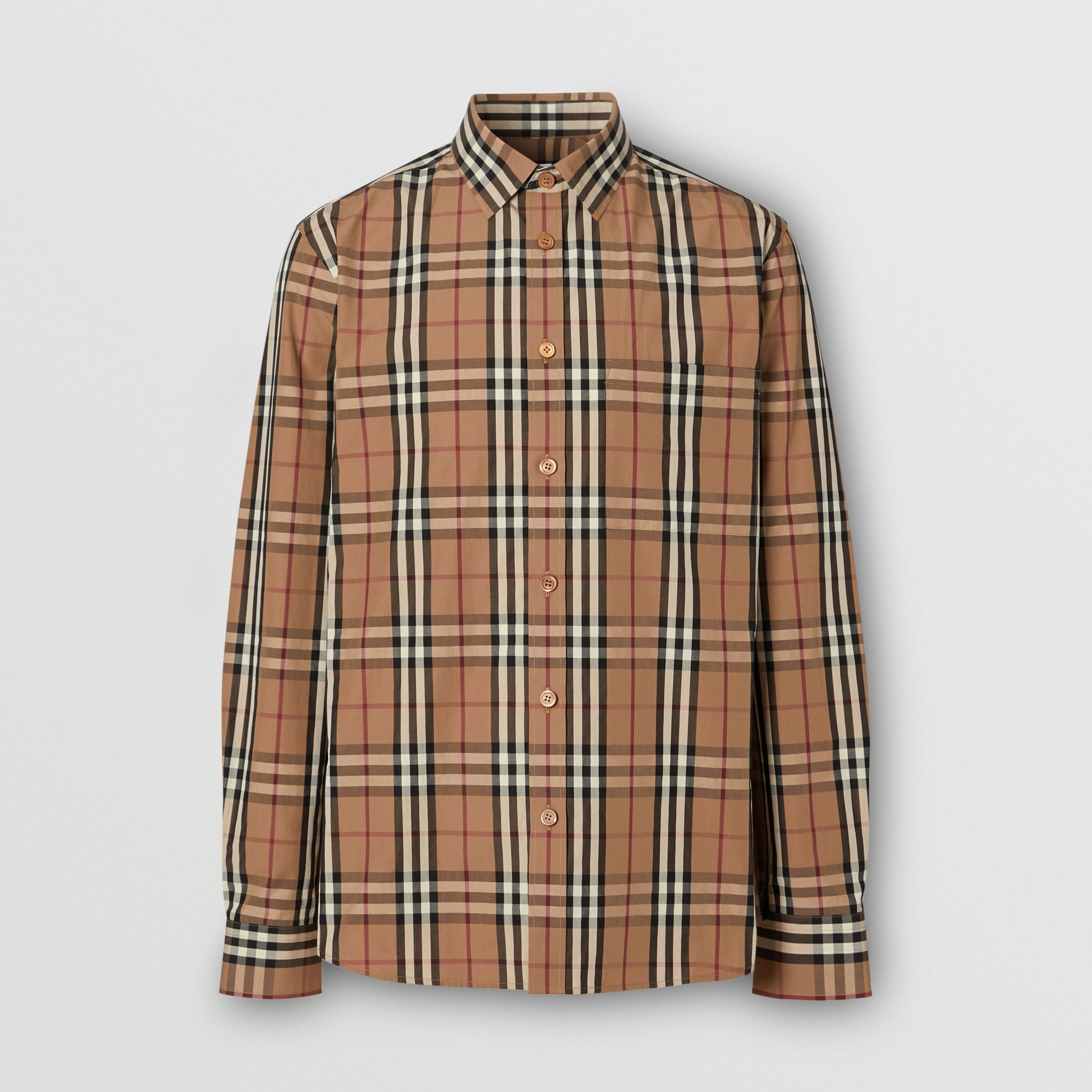 Vintage Check Cotton Poplin Shirt in Birch Brown - Men | Burberry - 4