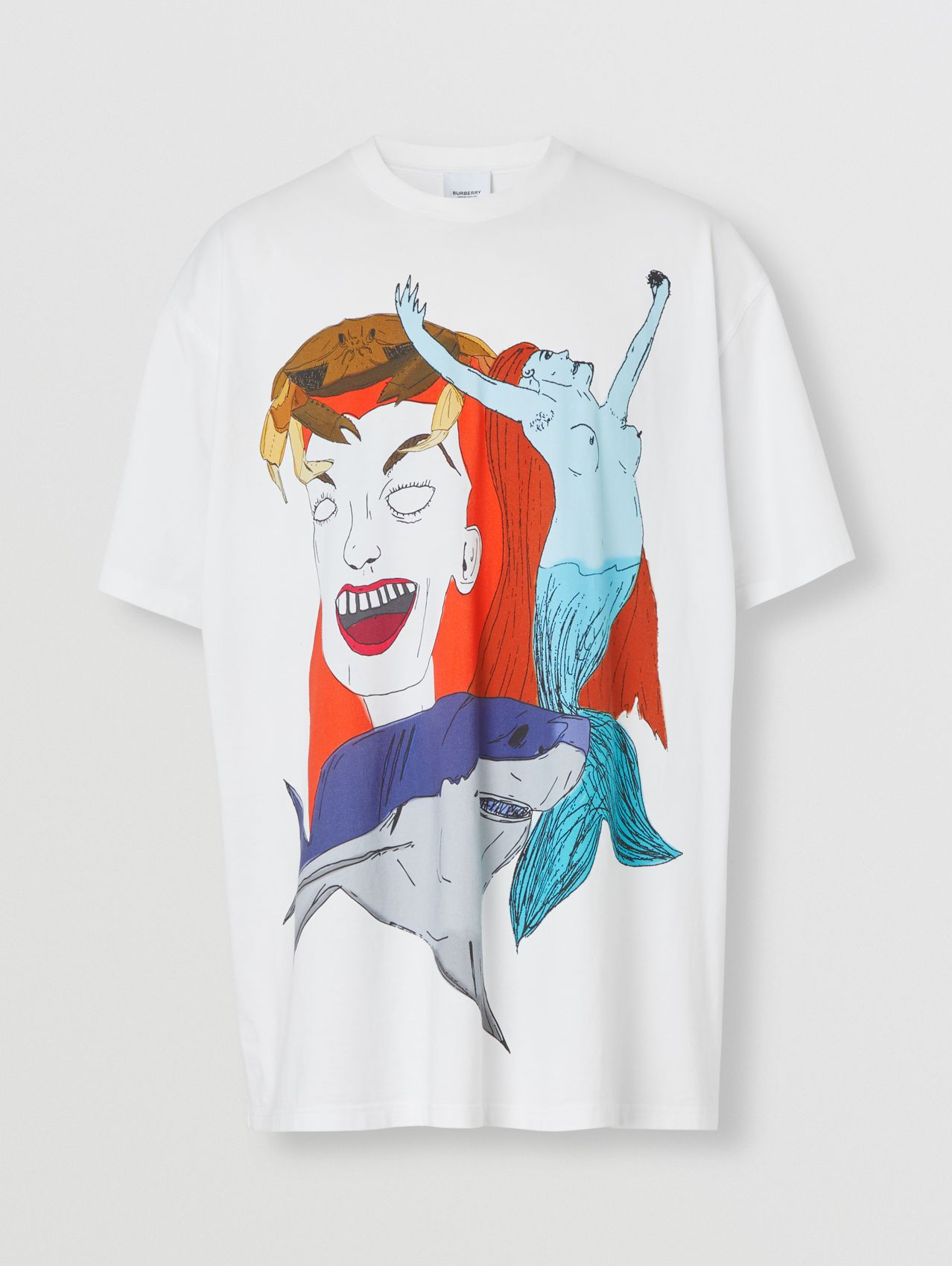 Sea Maiden Print Cotton Jersey T-shirt in White