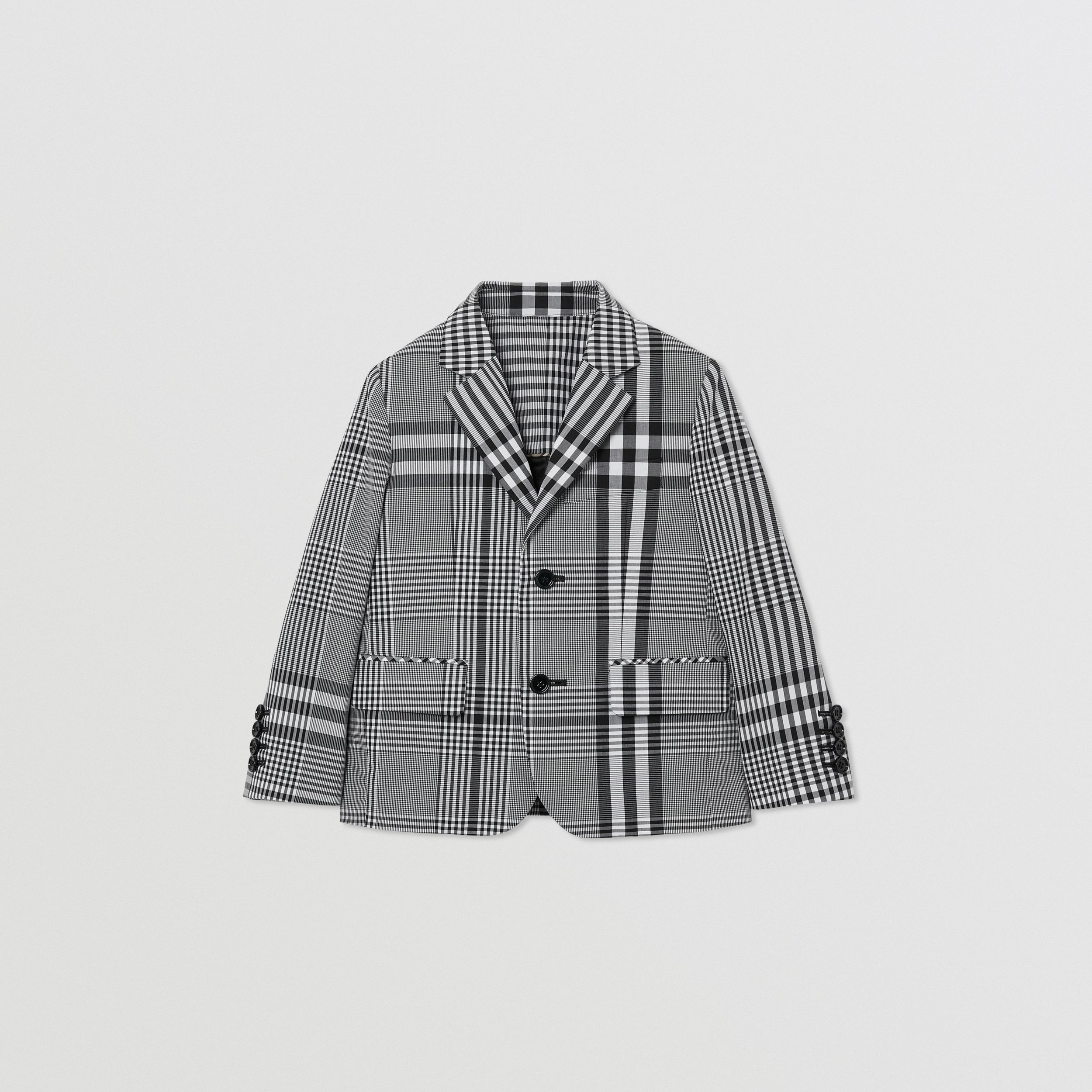 Check Cotton Poplin Blazer in Black | Burberry - 1