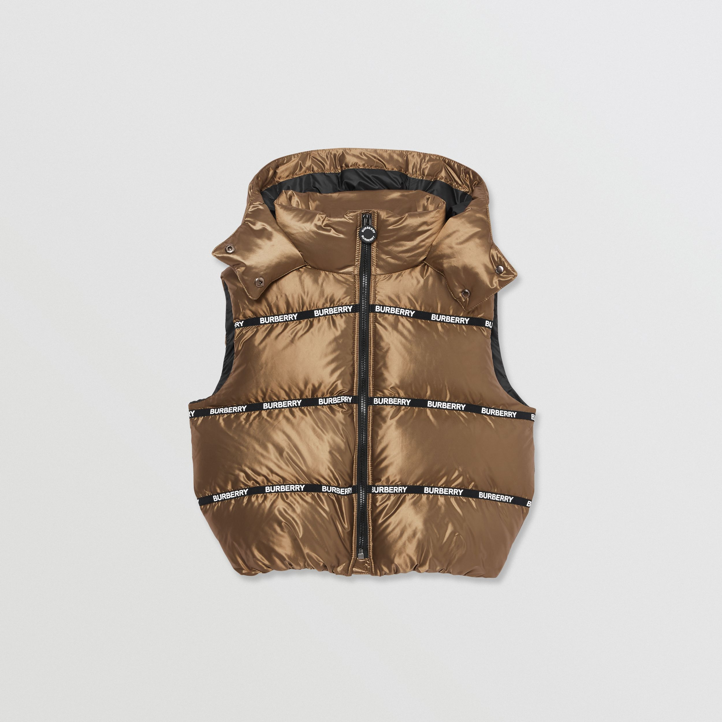 Logo Tape Hooded Puffer Gilet in Smoke | Burberry - 1