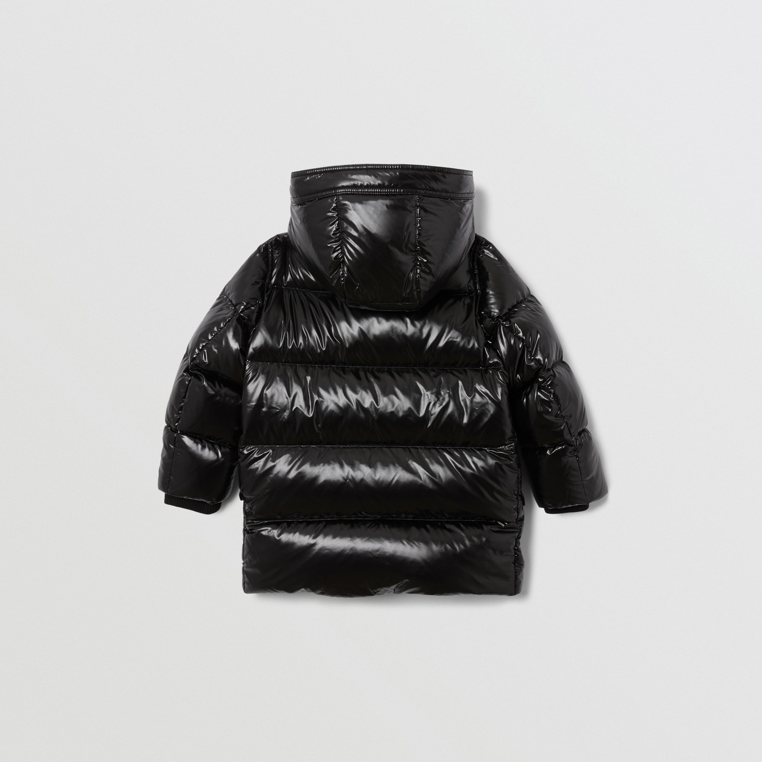 Icon Stripe Trim Hooded Puffer Coat in Black | Burberry Canada - 4