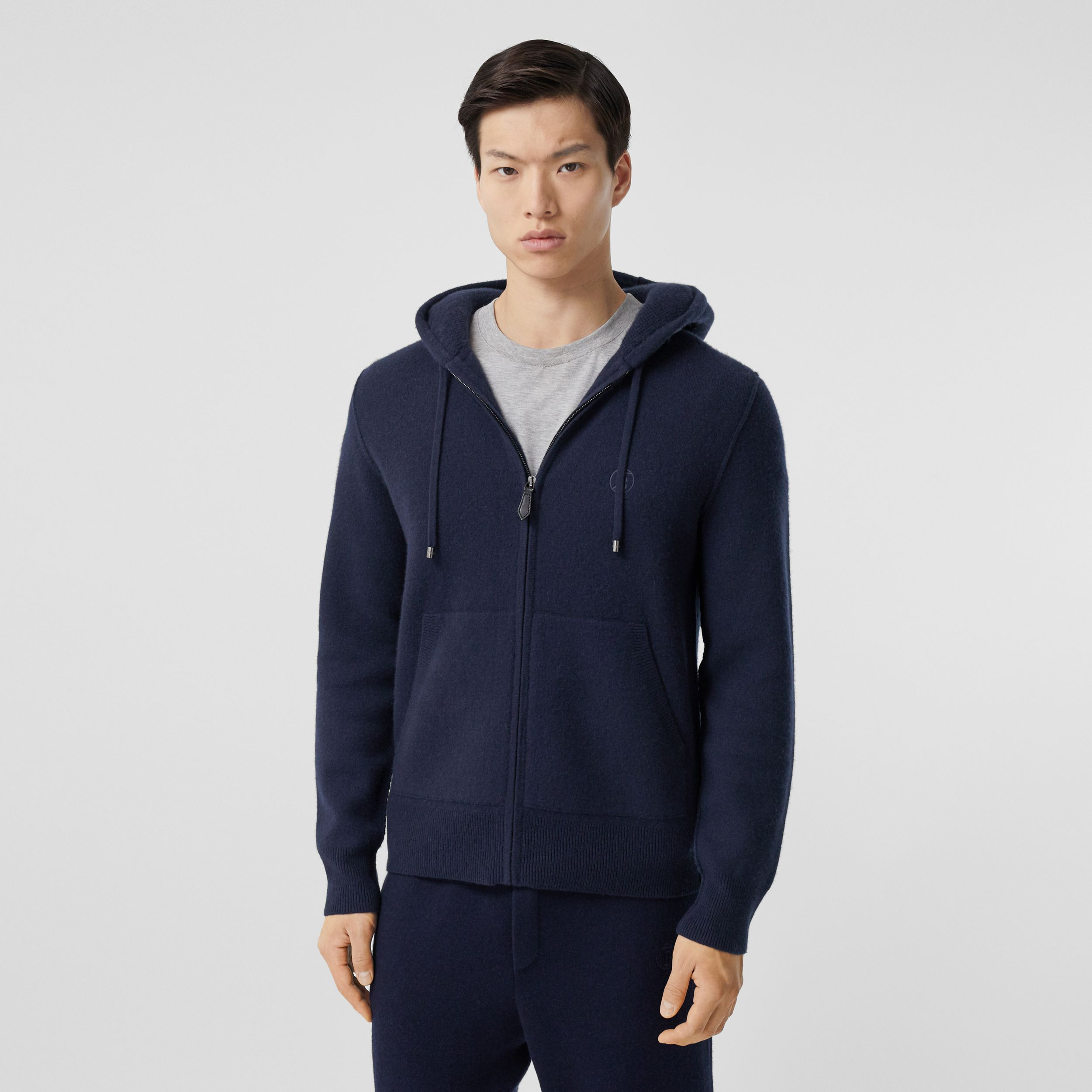 Monogram Motif Cashmere Blend Hooded Top in Navy - Men | Burberry - 1
