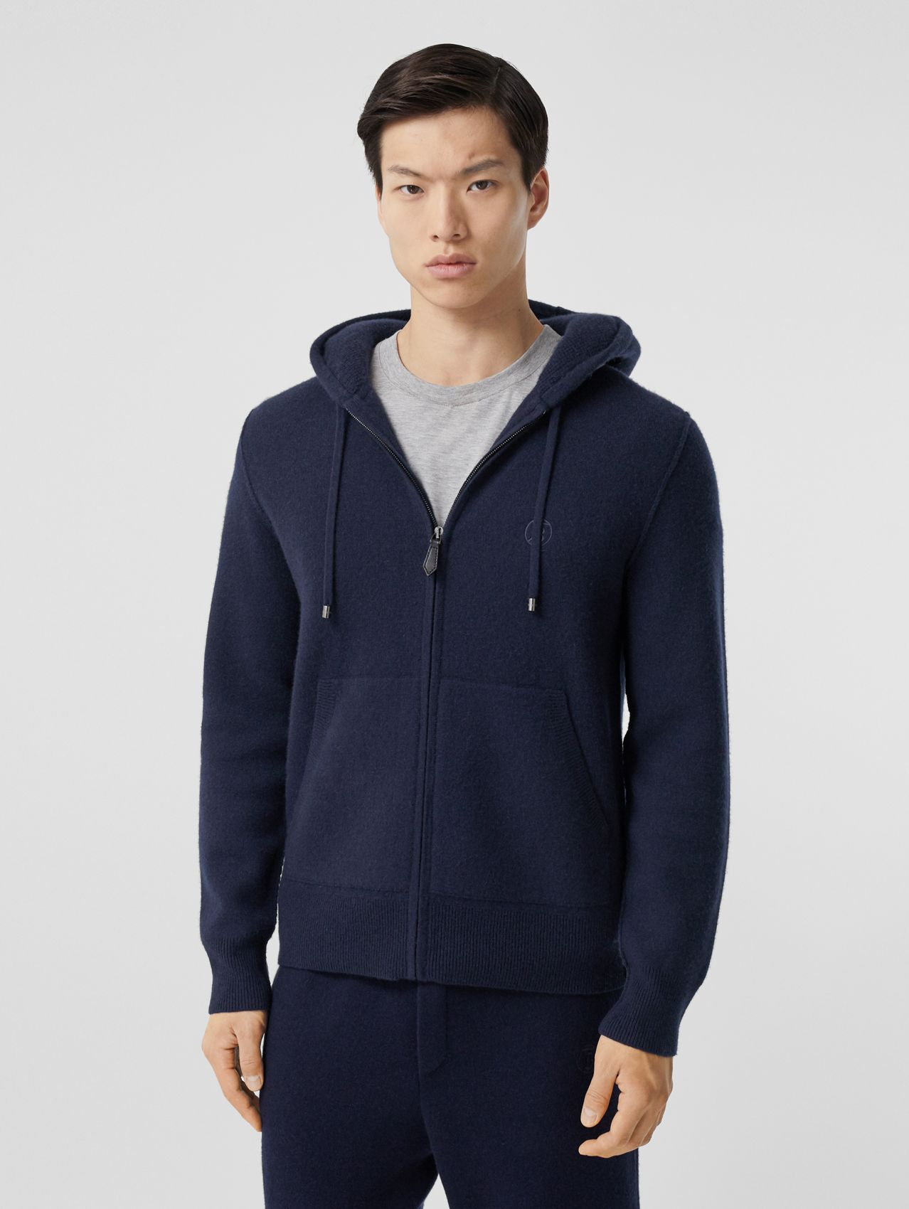 Monogram Motif Cashmere Blend Hooded Top in Navy