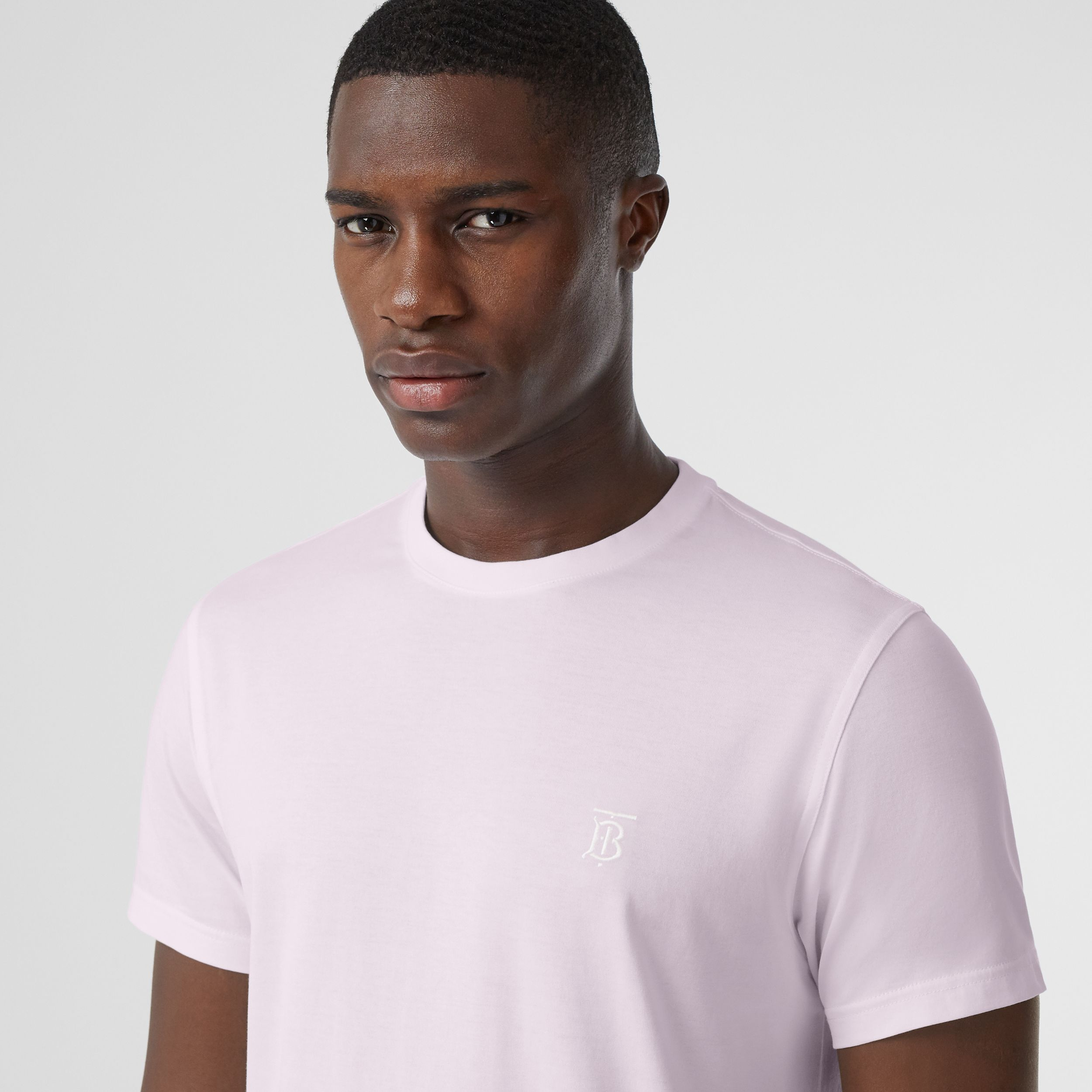 Monogram Motif Cotton T-shirt in Pale Thistle - Men | Burberry - 2