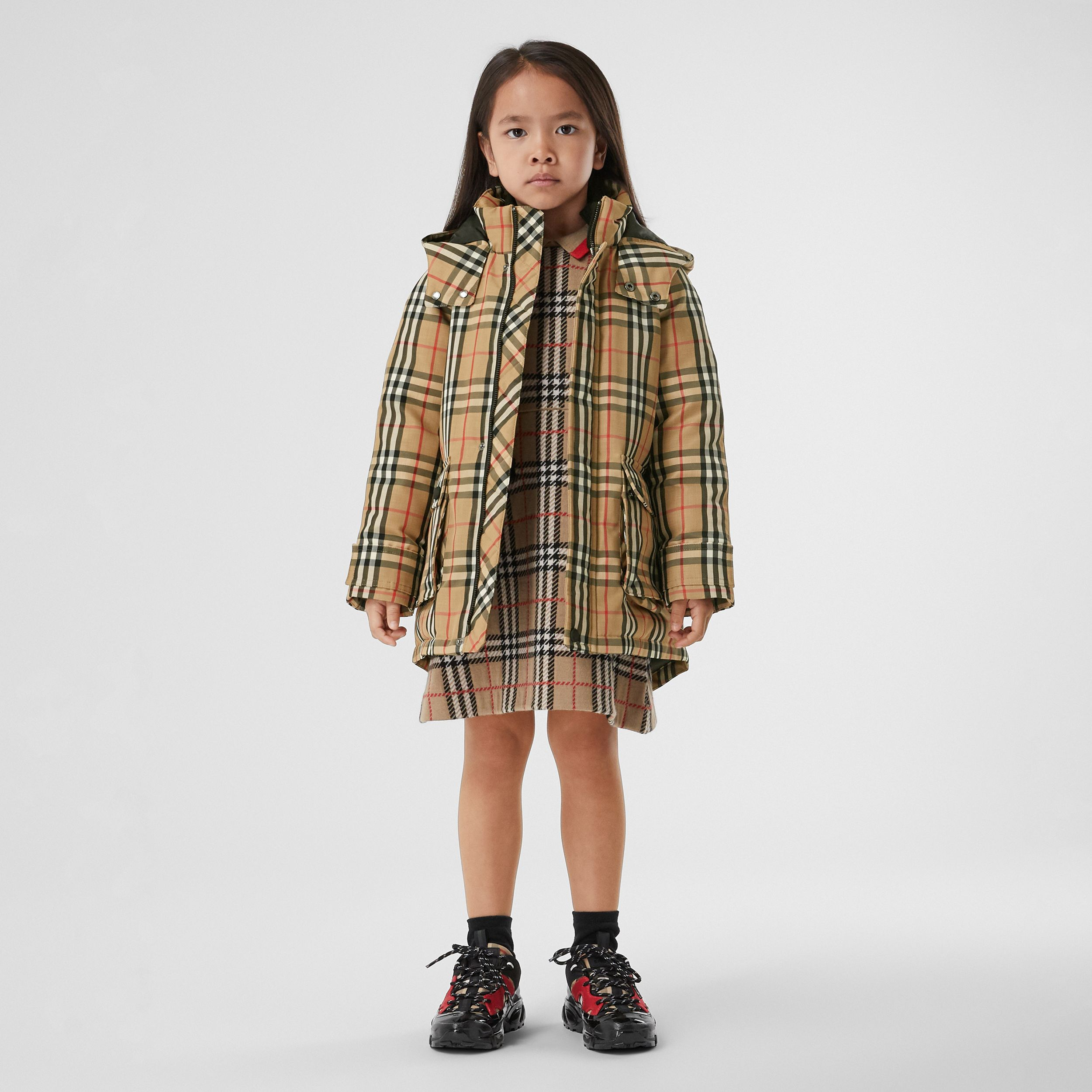 Vintage Check Down-filled Hooded Coat in Archive Beige | Burberry United Kingdom - 3