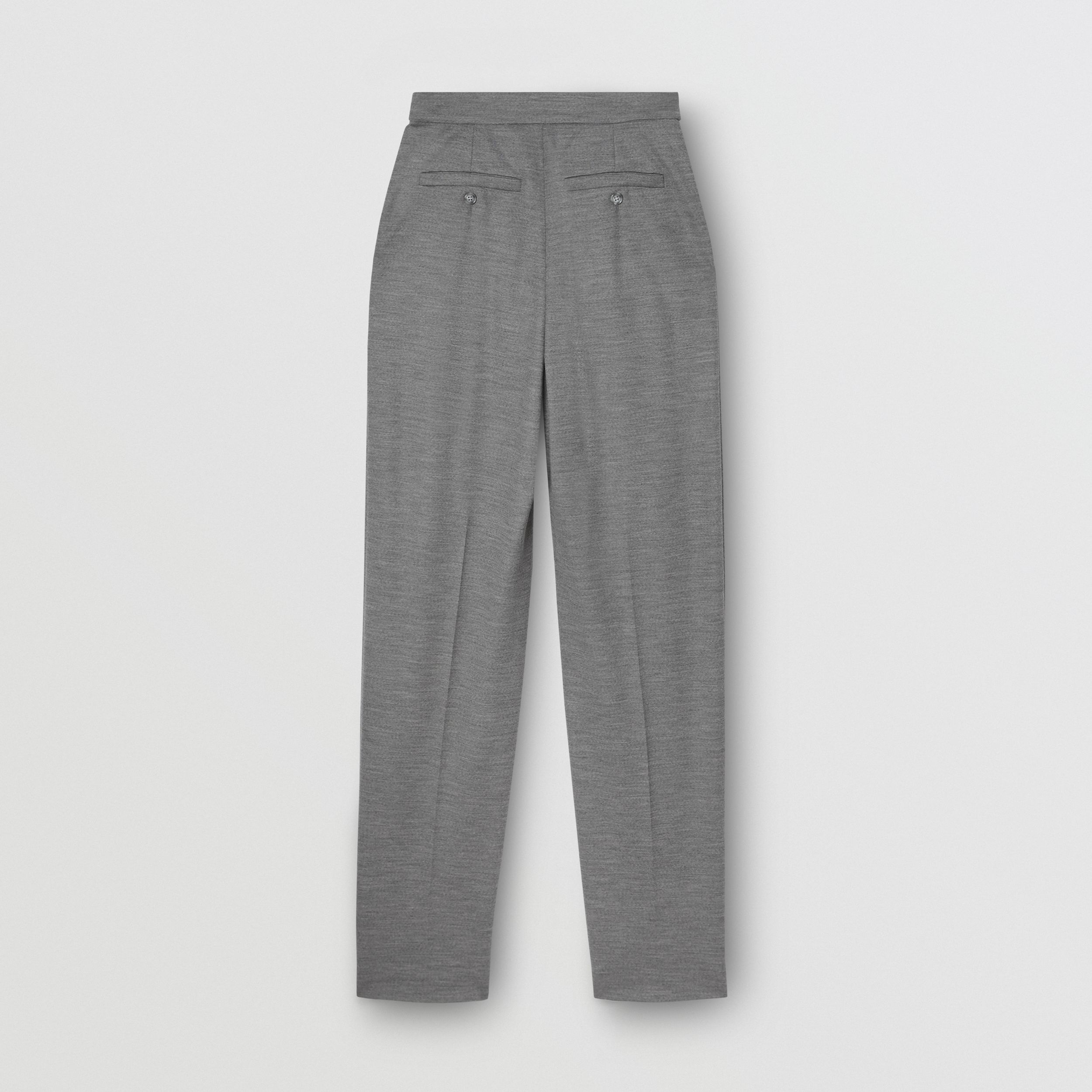 Cut-out Detail Wool Jersey Tailored Trousers in Cloud Grey - Women | Burberry - 2