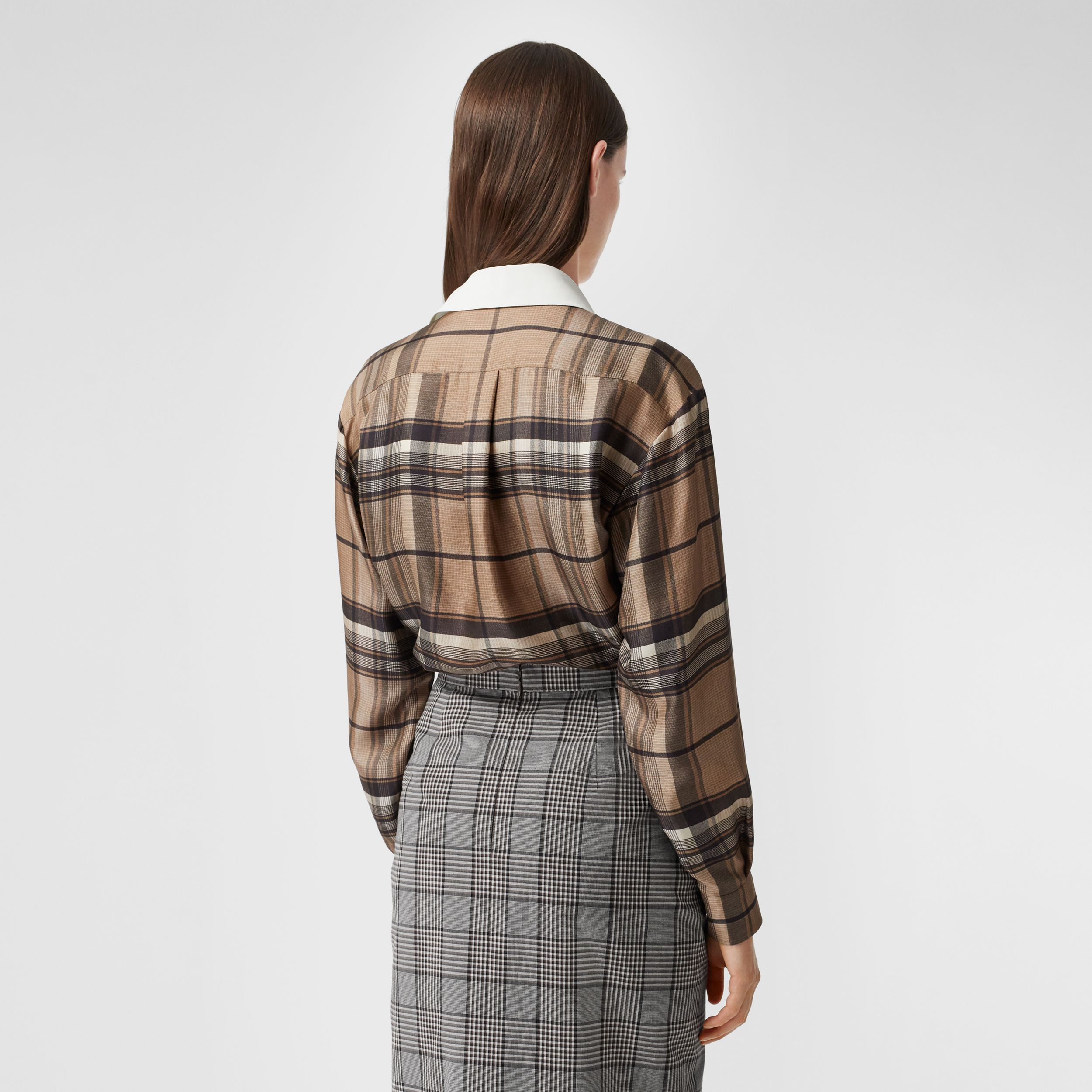 Logo Appliqué Check Print Silk Twill Shirt in Dark Tan - Women | Burberry - 3