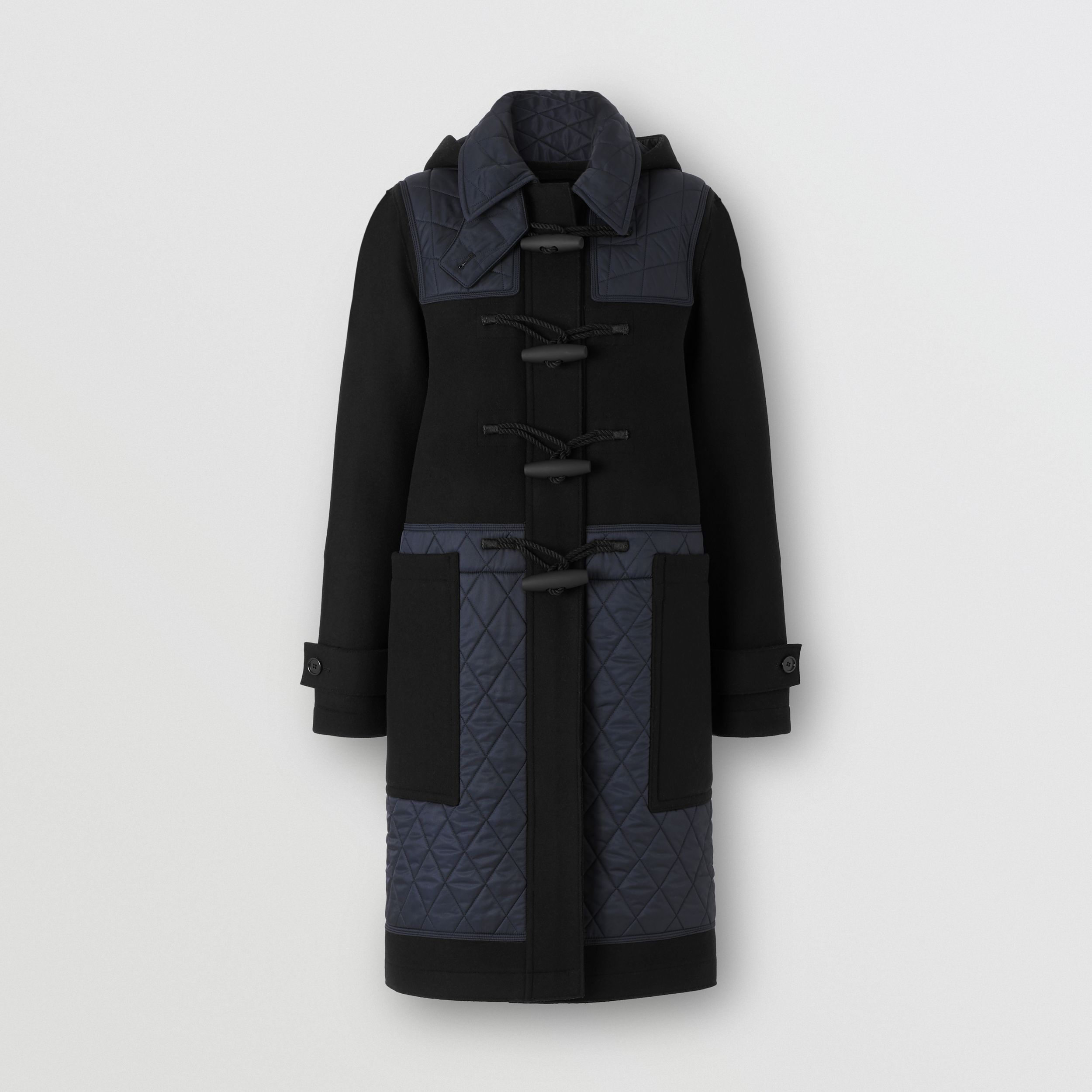 Diamond Quilted Panel Technical Wool Duffle Coat in Black - Women | Burberry - 1