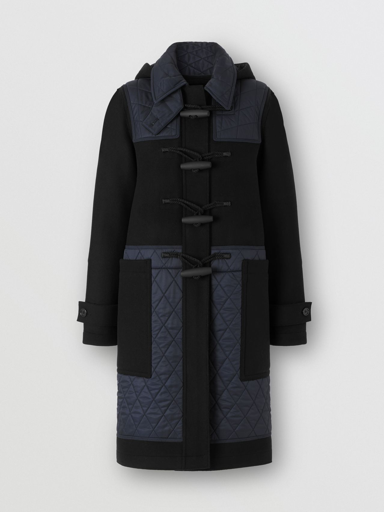 Diamond Quilted Panel Technical Wool Duffle Coat in Black