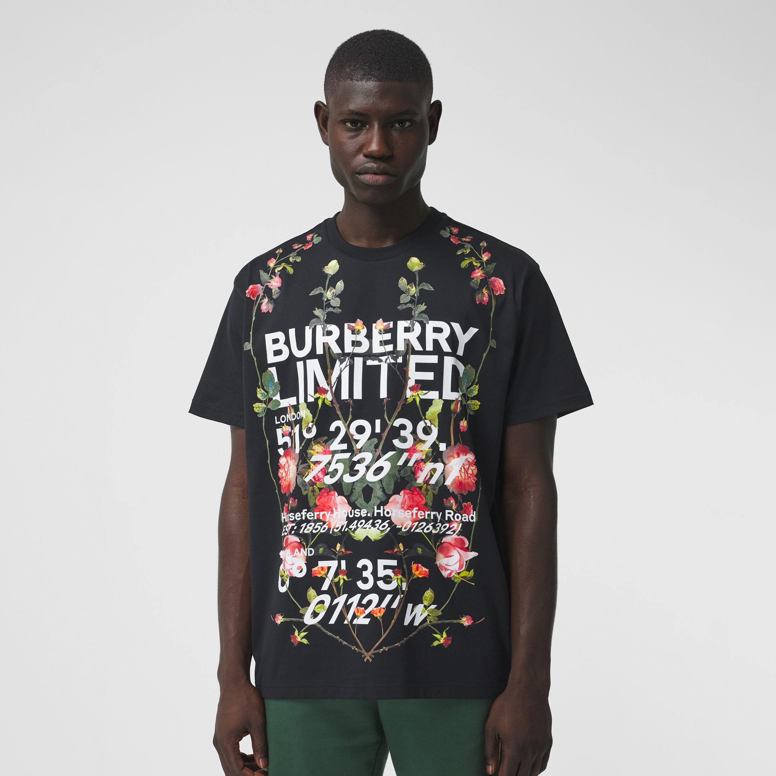 Montage Print Cotton Oversized T-shirt in Black - Men | Burberry - 1