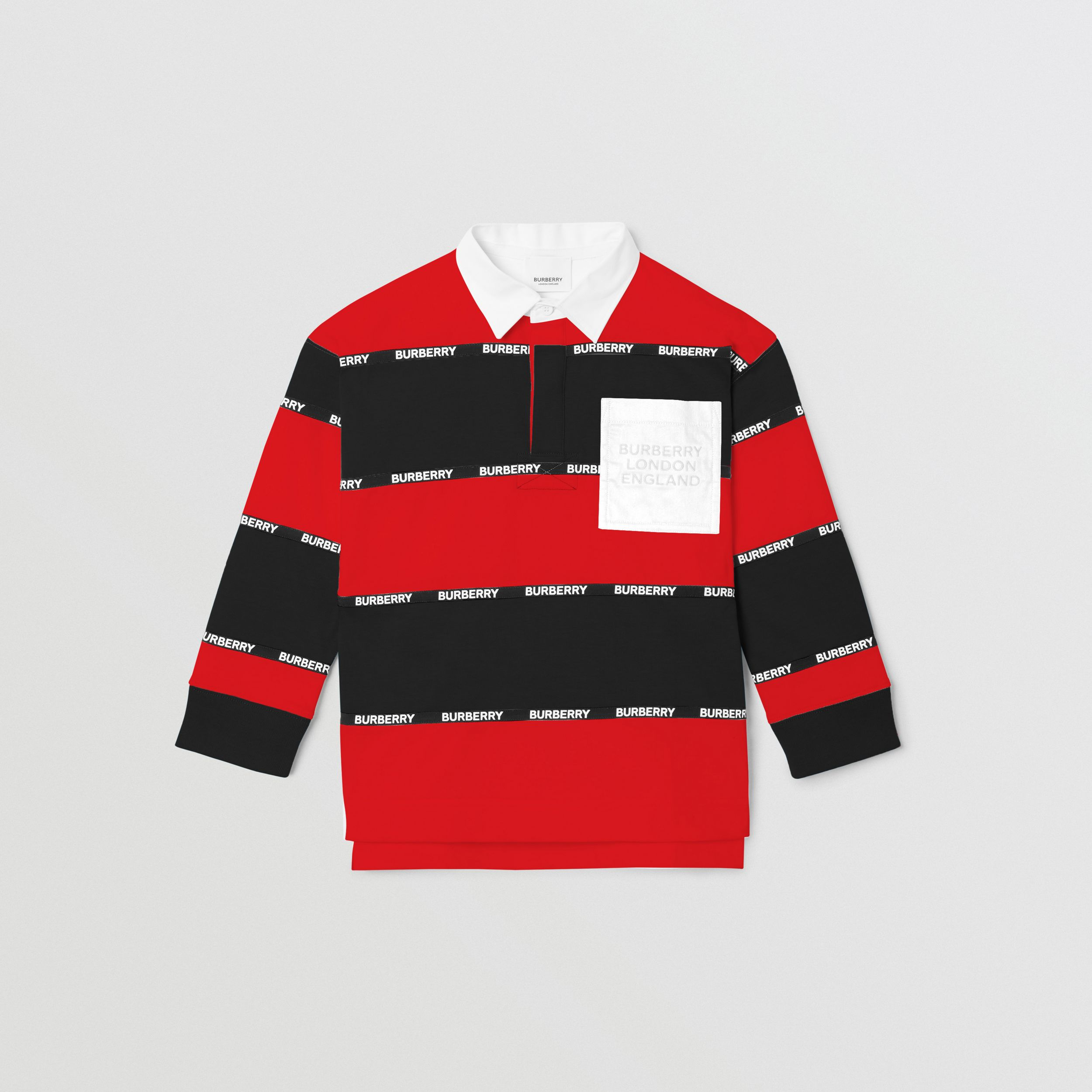 Long-sleeve Logo Tape Striped Cotton Polo Shirt in Bright Red | Burberry - 1