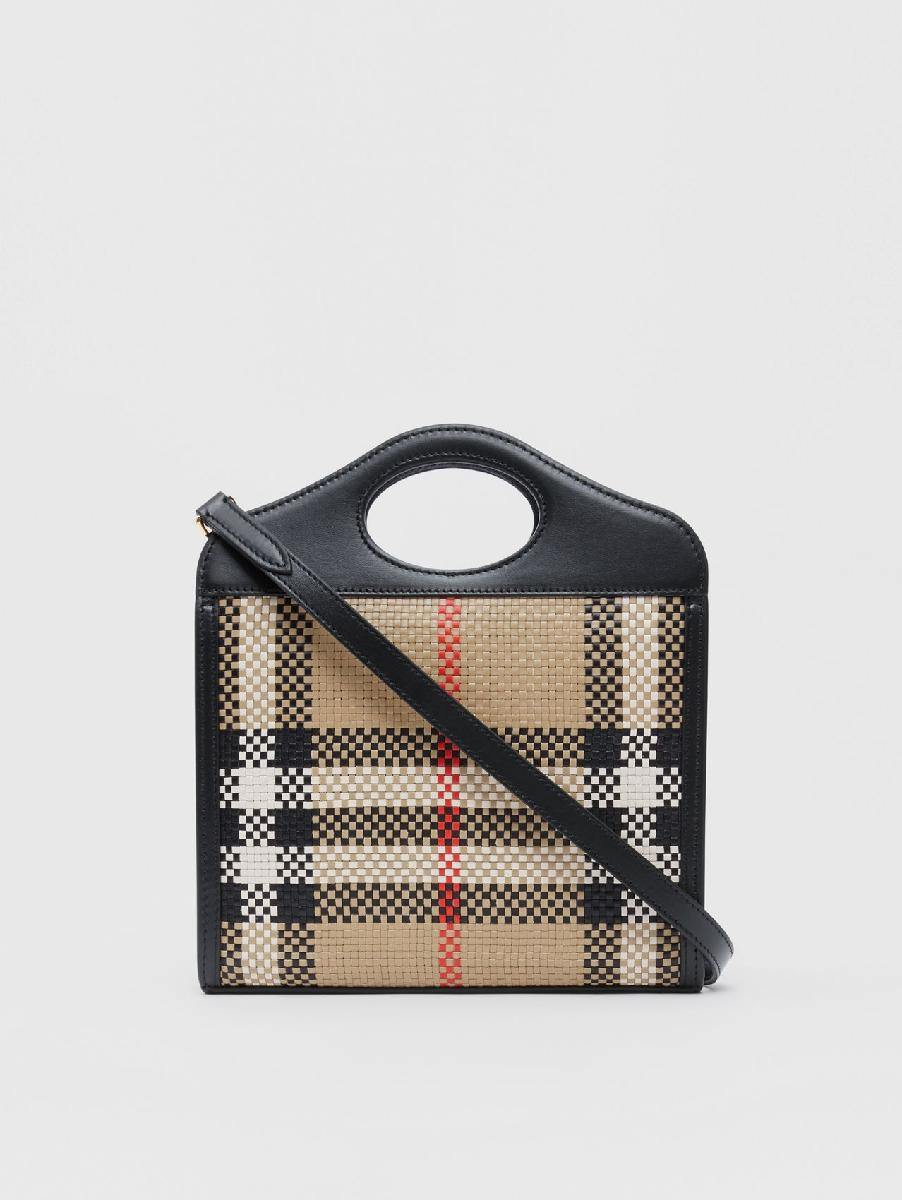 Mini Latticed Leather Pocket Bag in Archive Beige/black