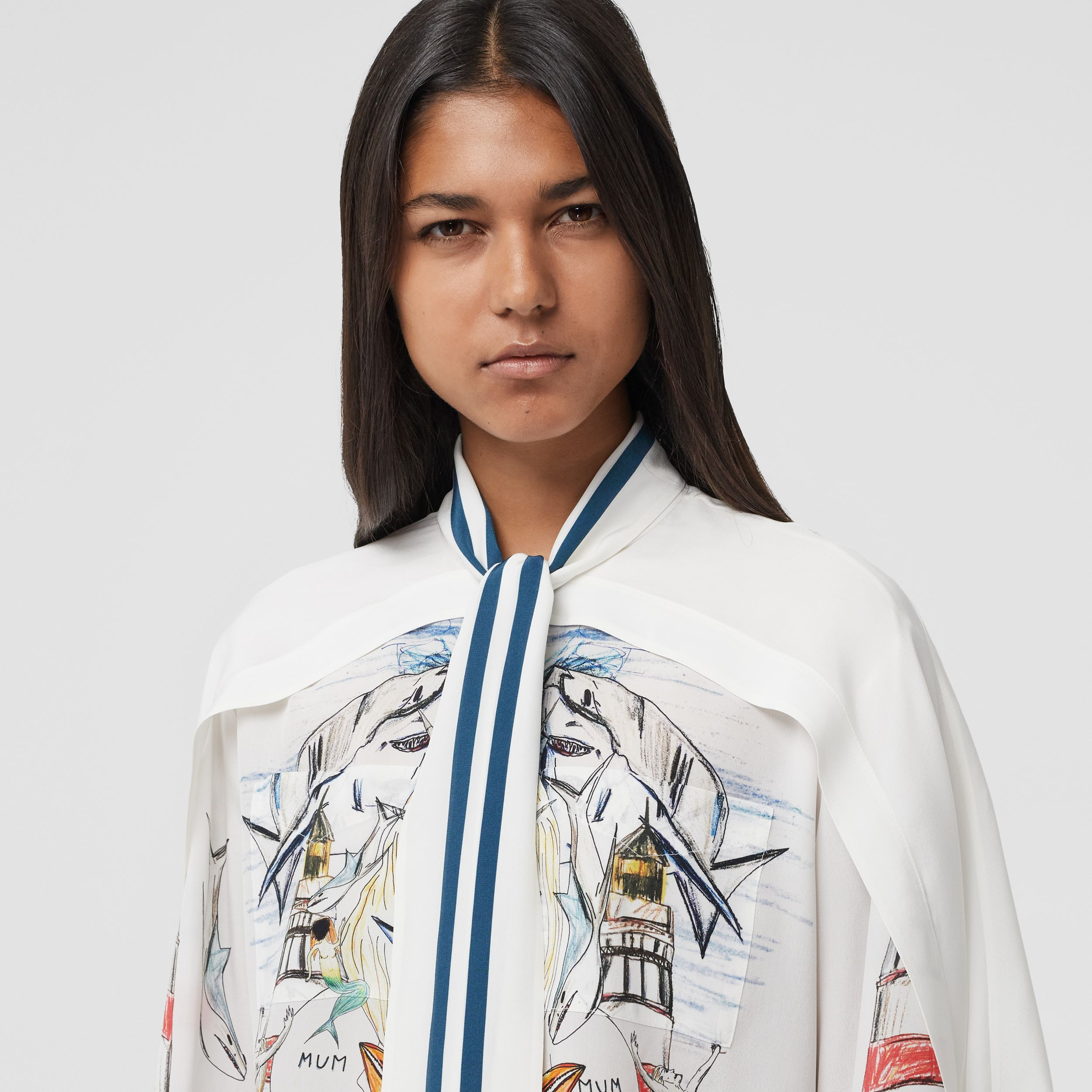 Cape Detail Marine Sketch Print Silk Tie-neck Shirt in White - Women | Burberry United States - 2
