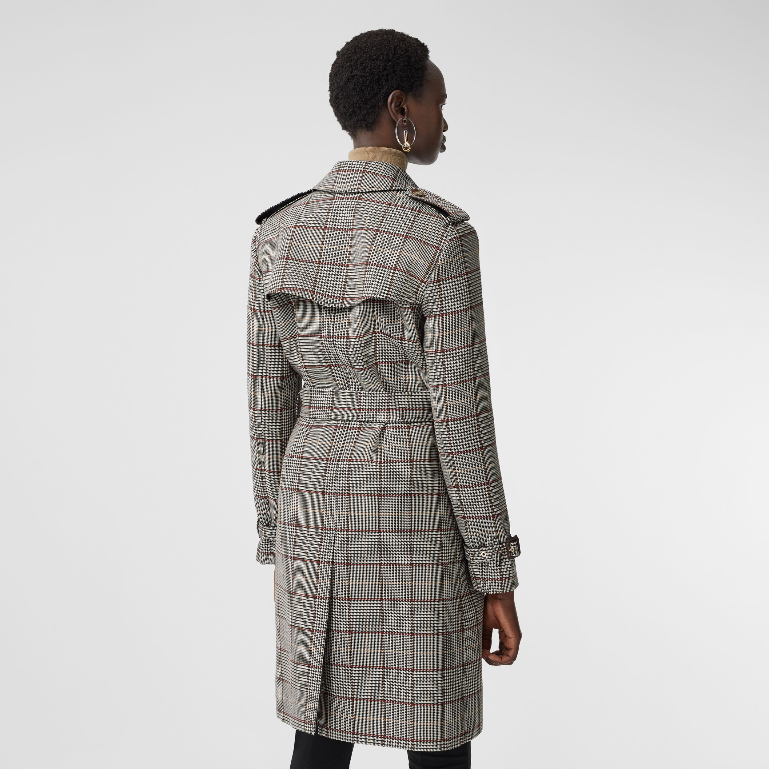 Prince of Wales Check Wool Trench Coat in Clove Brown - Women | Burberry Hong Kong S.A.R. - 3
