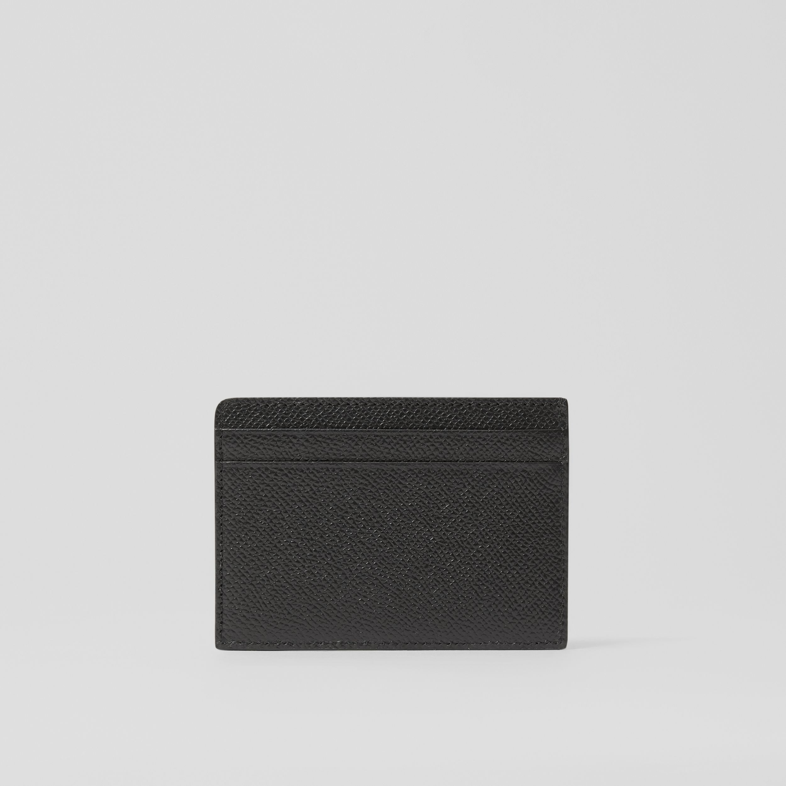Icon Stripe Print Grainy Leather Card Case in Black - Men | Burberry Singapore - 4