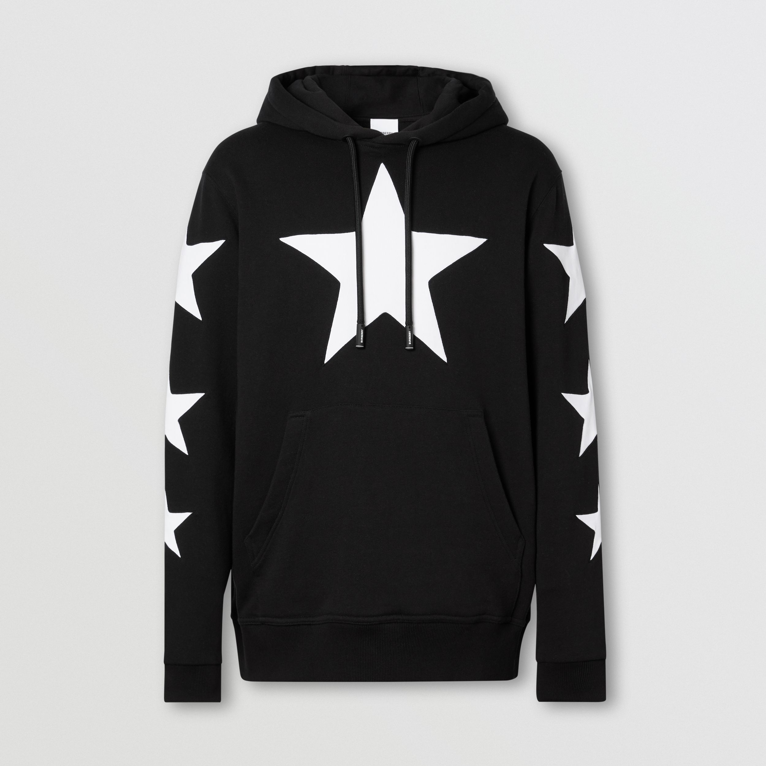 Star Motif Cotton Hoodie in Black | Burberry Canada - 4