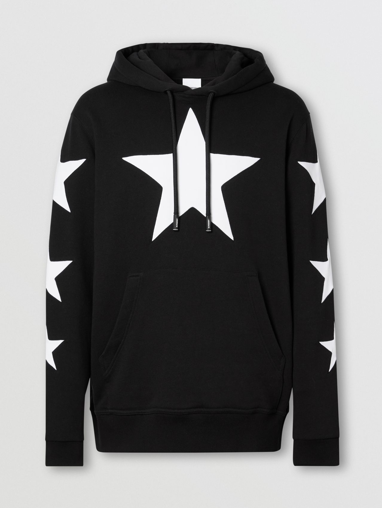 Star Motif Cotton Hoodie in Black
