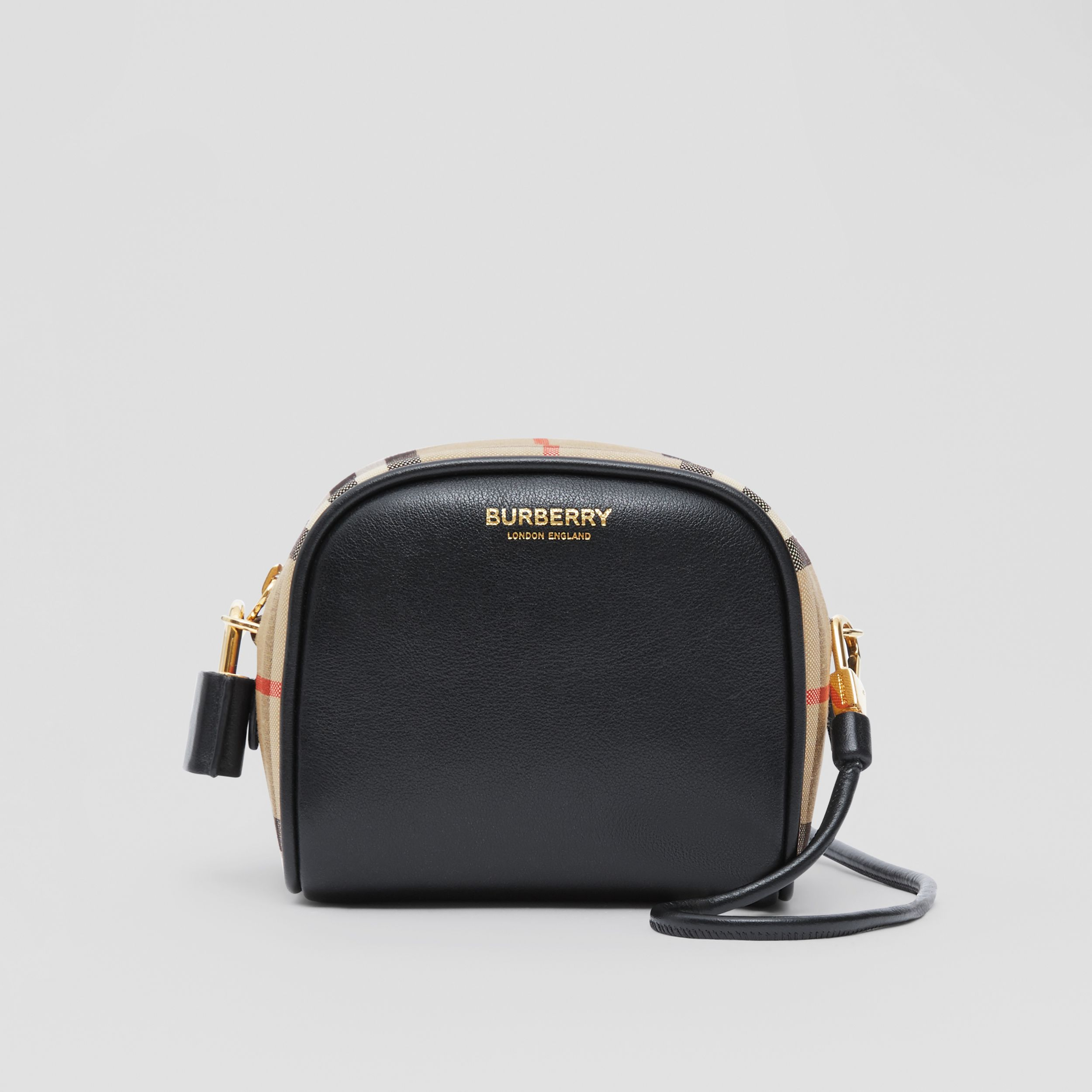Micro Leather and Vintage Check Cube Bag in Black/archive Beige | Burberry Australia - 1