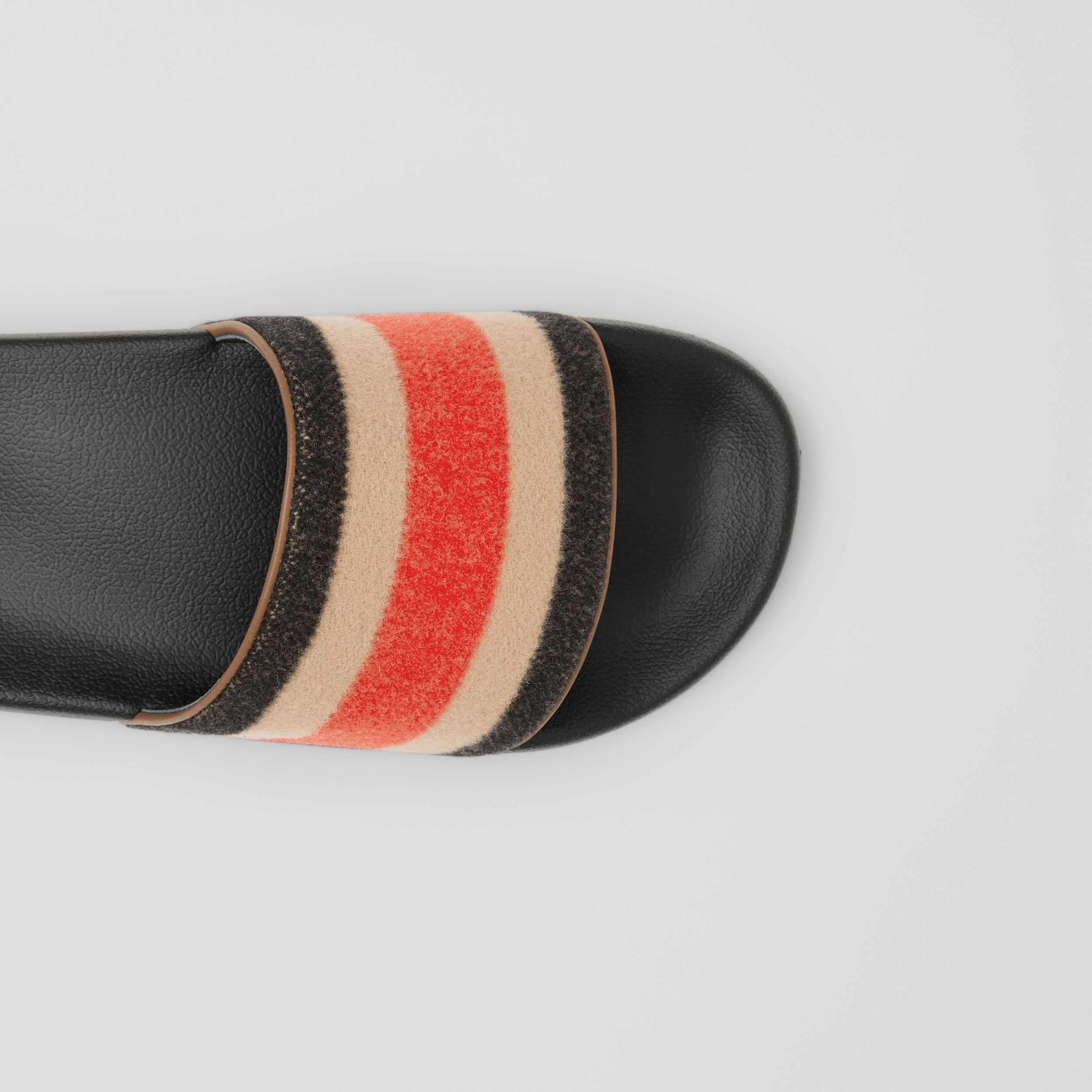 Striped Wool and Leather Slides in Light Camel - Women | Burberry - 2