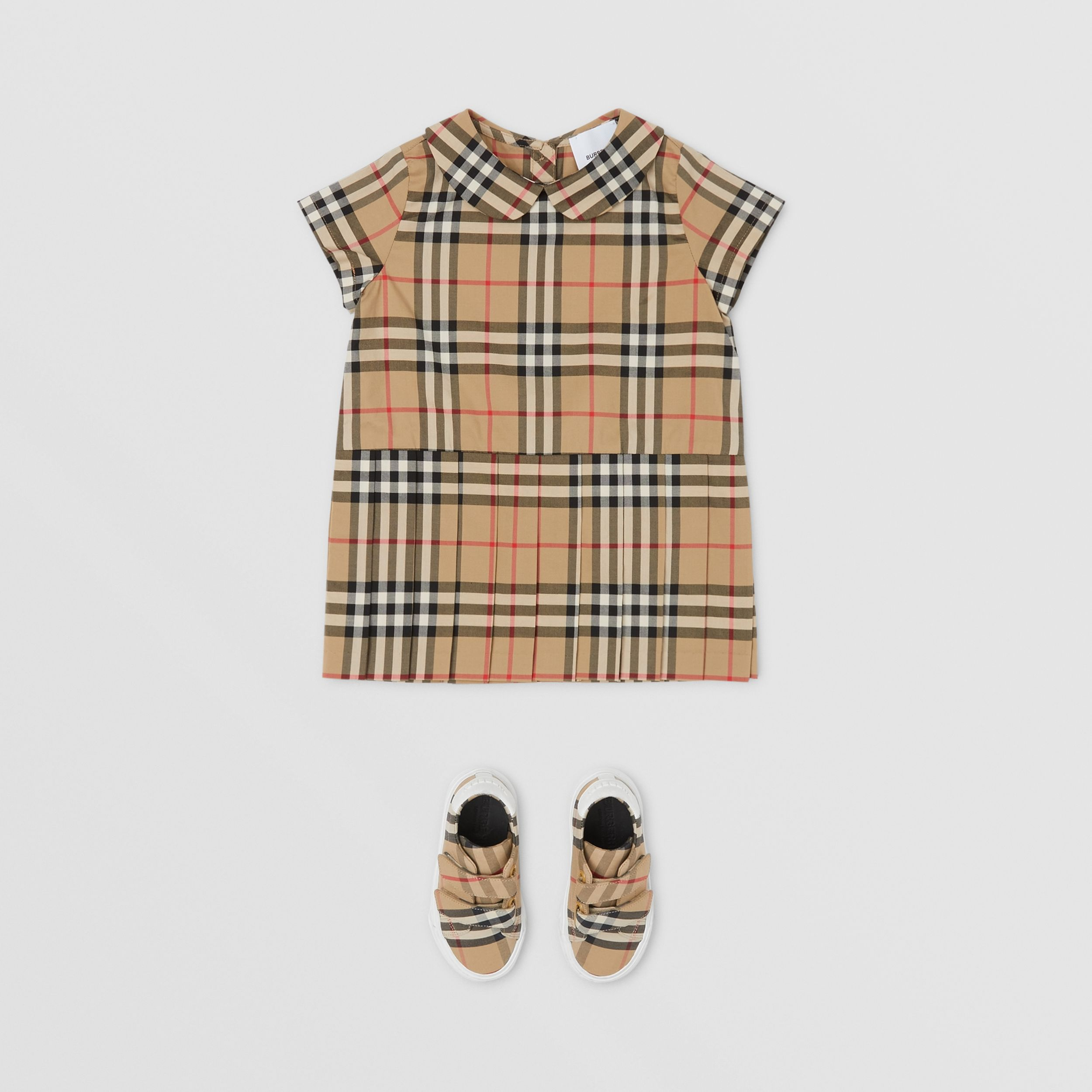 Vestitino in cotone con colletto Peter Pan e motivo Vintage check - Bambini | Burberry - 3