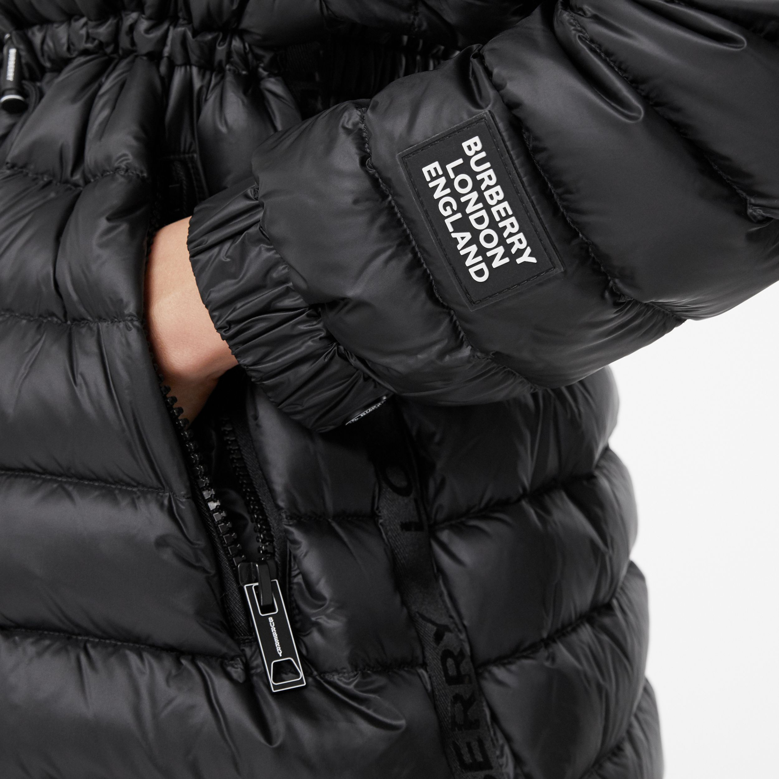 Lightweight Hooded Puffer Jacket in Black - Women | Burberry - 4