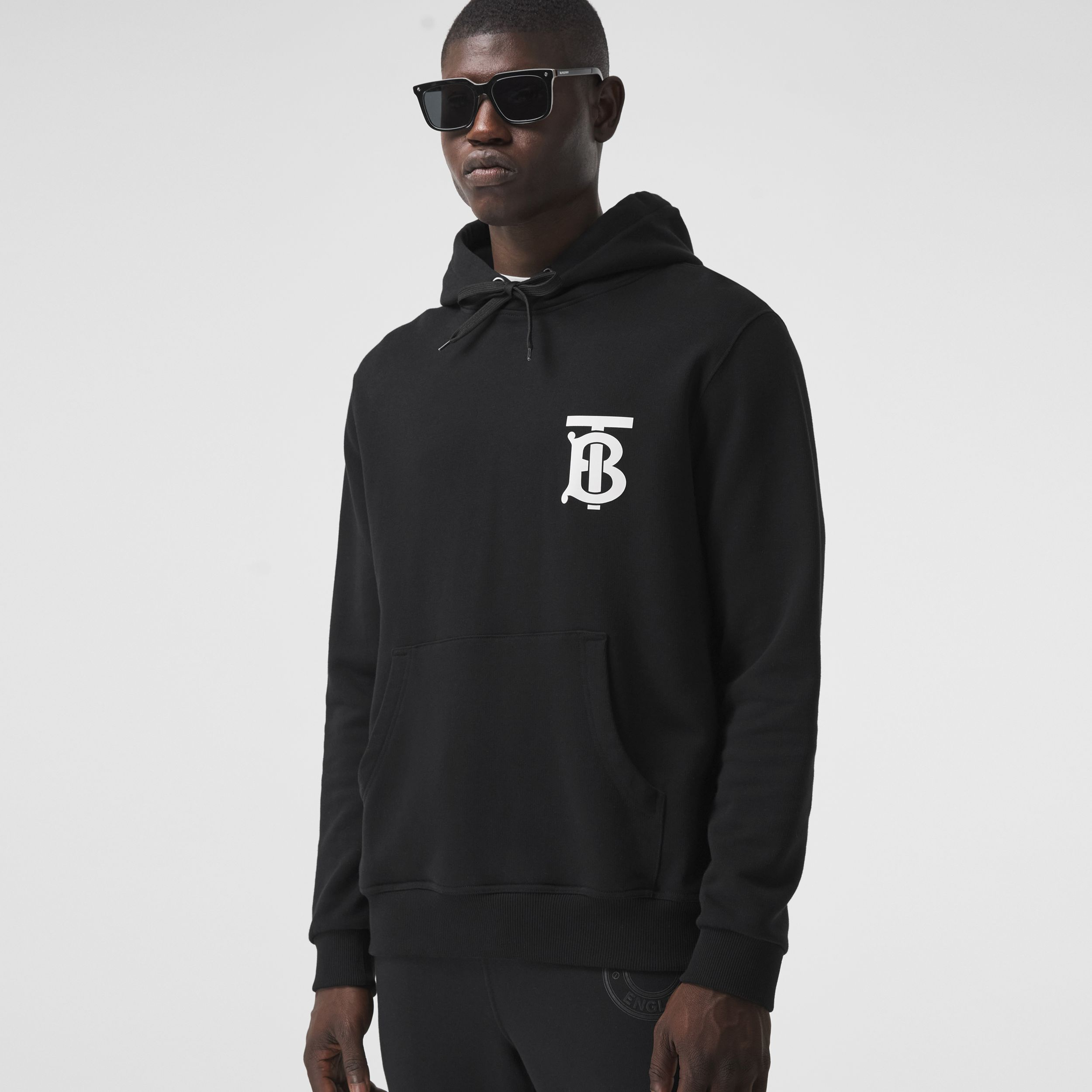 Monogram Motif Cotton Hoodie in Black - Men | Burberry - 1