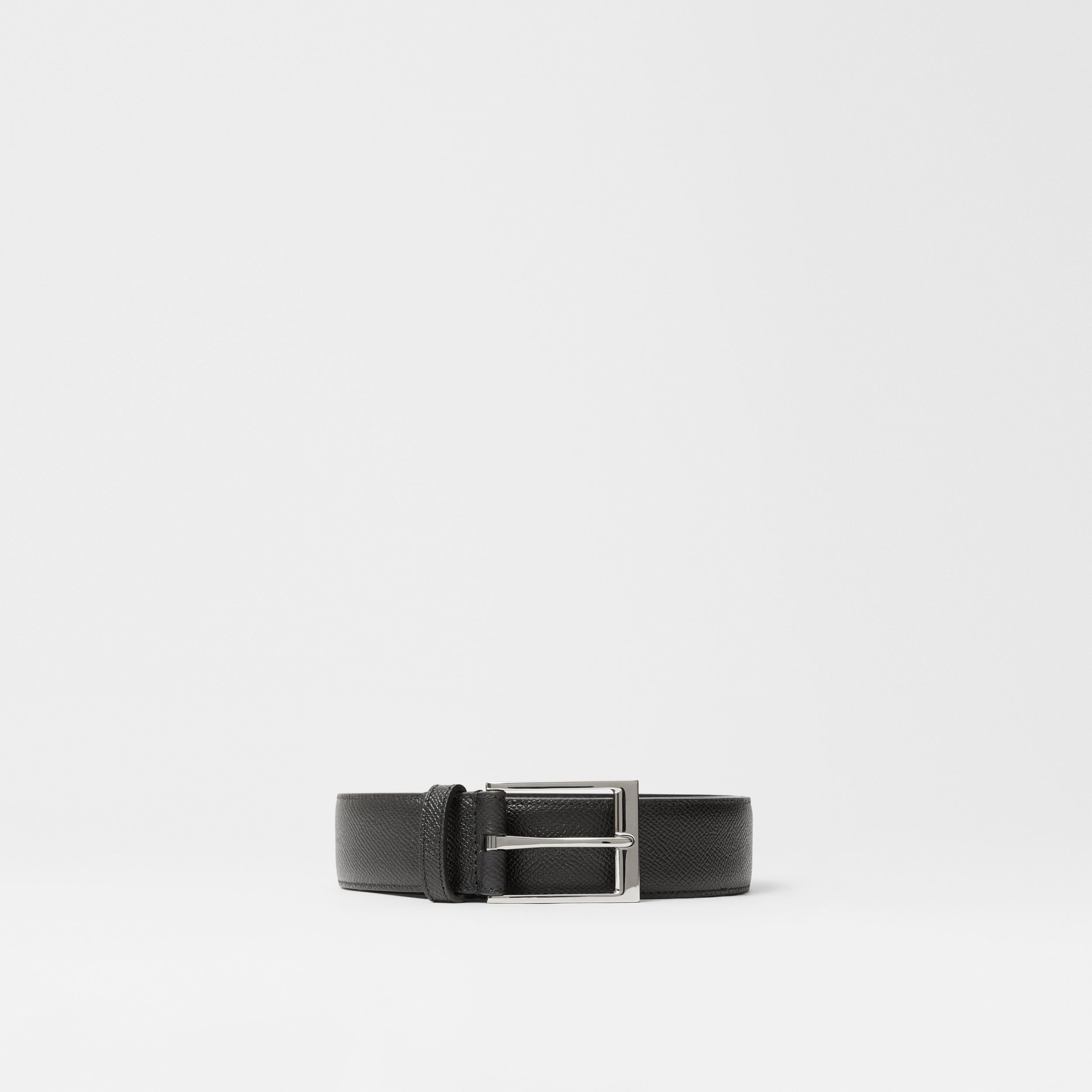 Icon Stripe Print Grainy Leather Belt in Black - Men | Burberry - 4