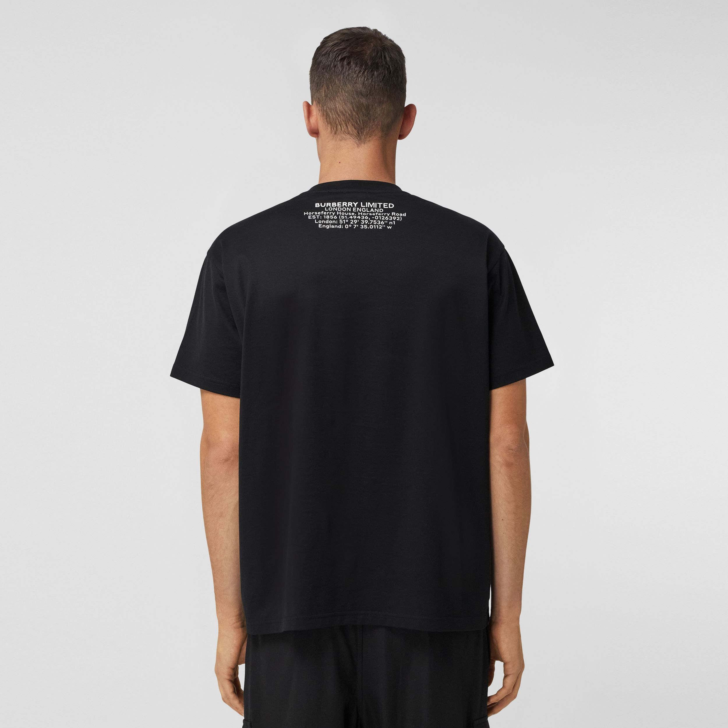 Shark Graphic Cotton Oversized T-shirt in Black - Men | Burberry United States - 3