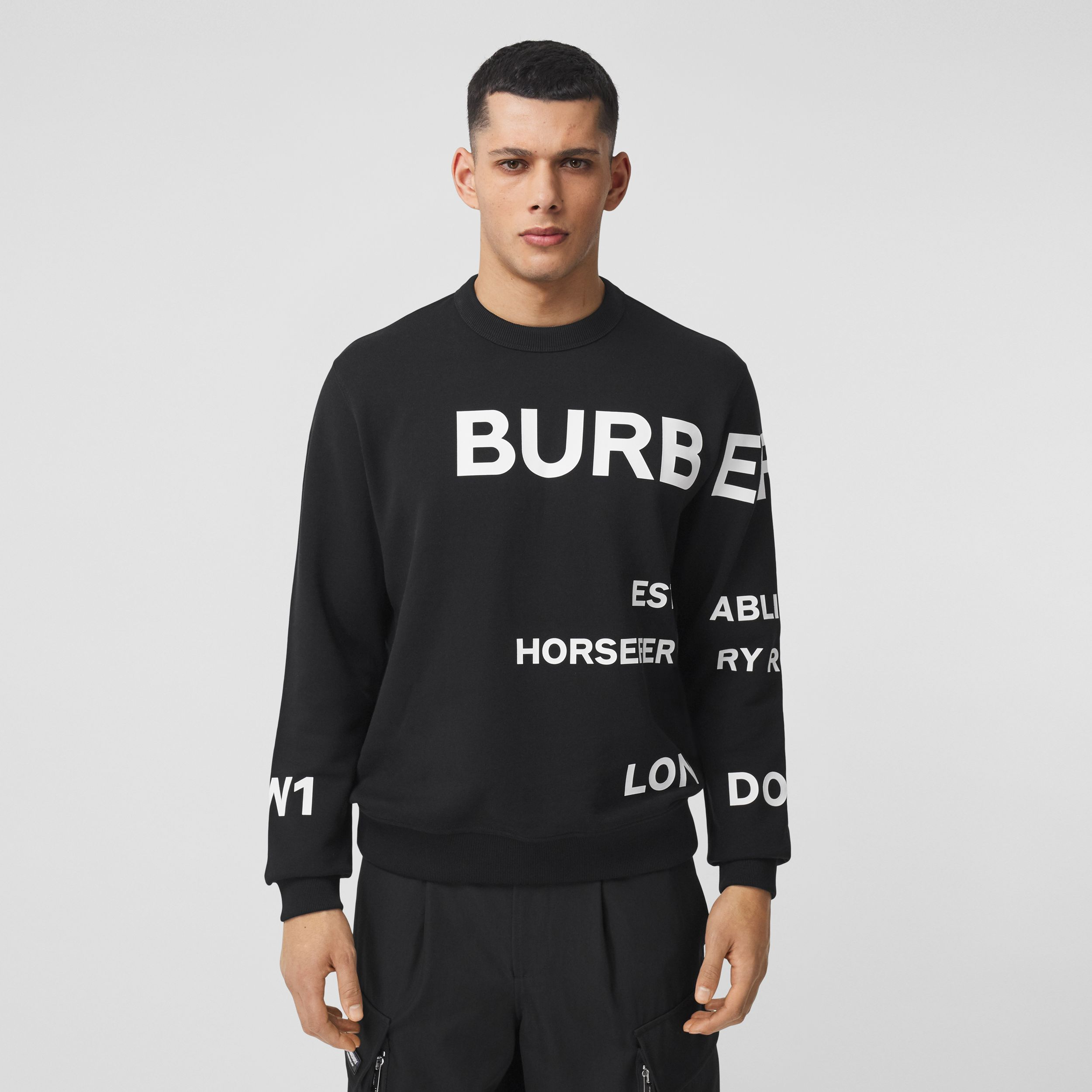 Horseferry Print Cotton Sweatshirt in Black - Men | Burberry - 1