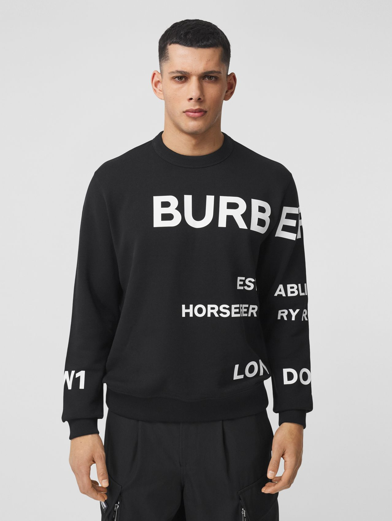 Horseferry Print Cotton Sweatshirt in Black
