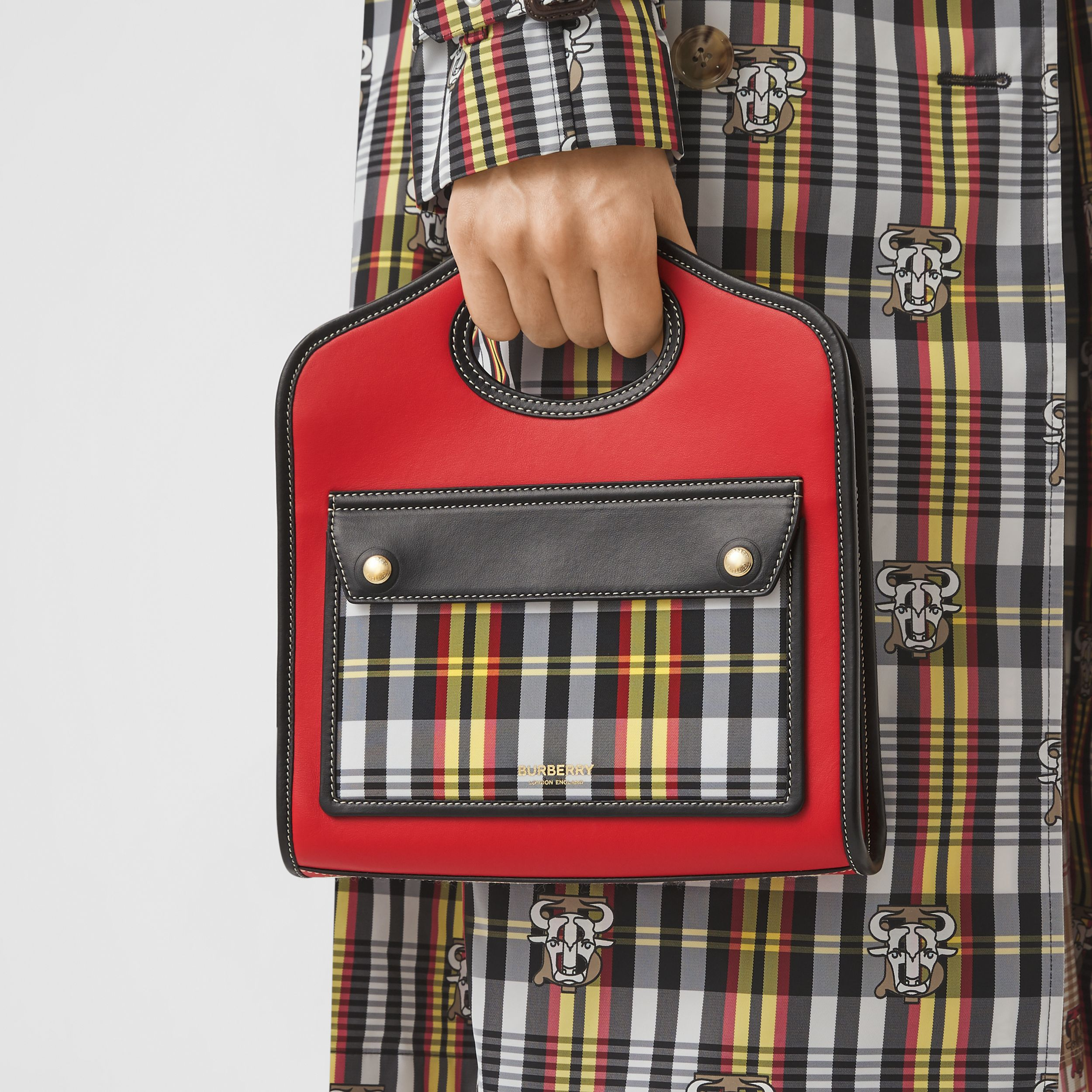 Mini Two-tone Leather and Check Pocket Bag in Bright Red - Women | Burberry - 3