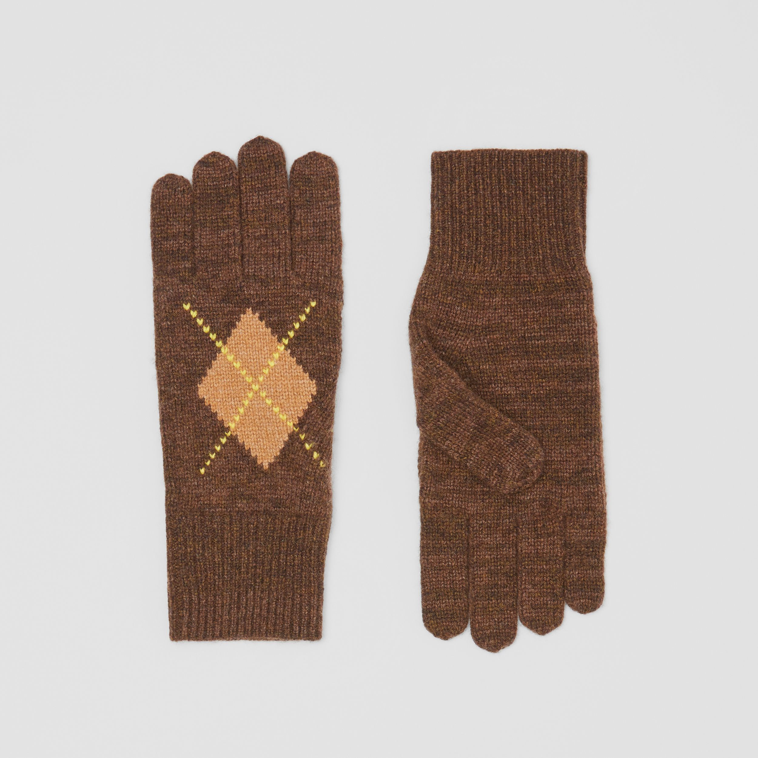 Argyle Intarsia Wool Cashmere Gloves in Brown | Burberry - 1