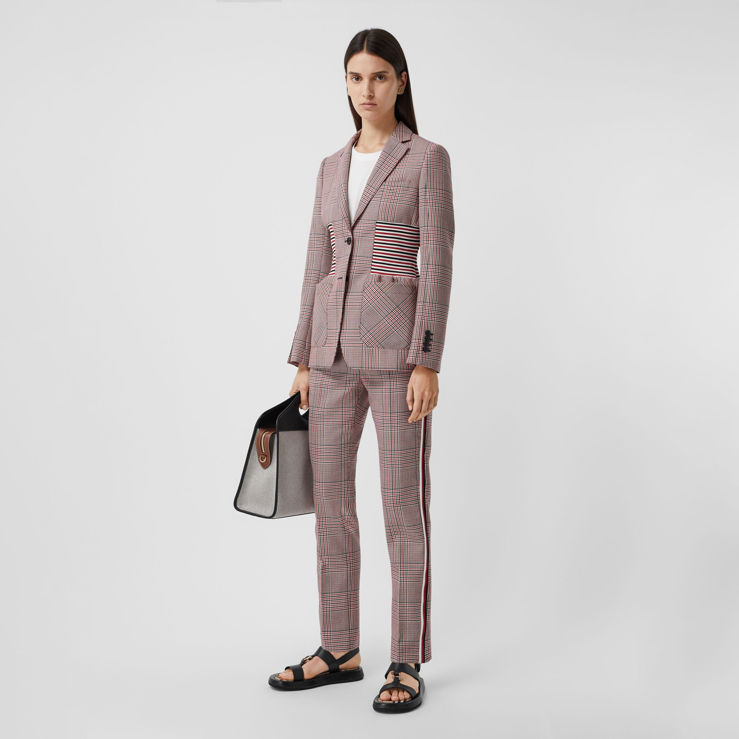 Side Stripe Houndstooth Check Wool Tailored Trousers in Bright Red - Women | Burberry - 1