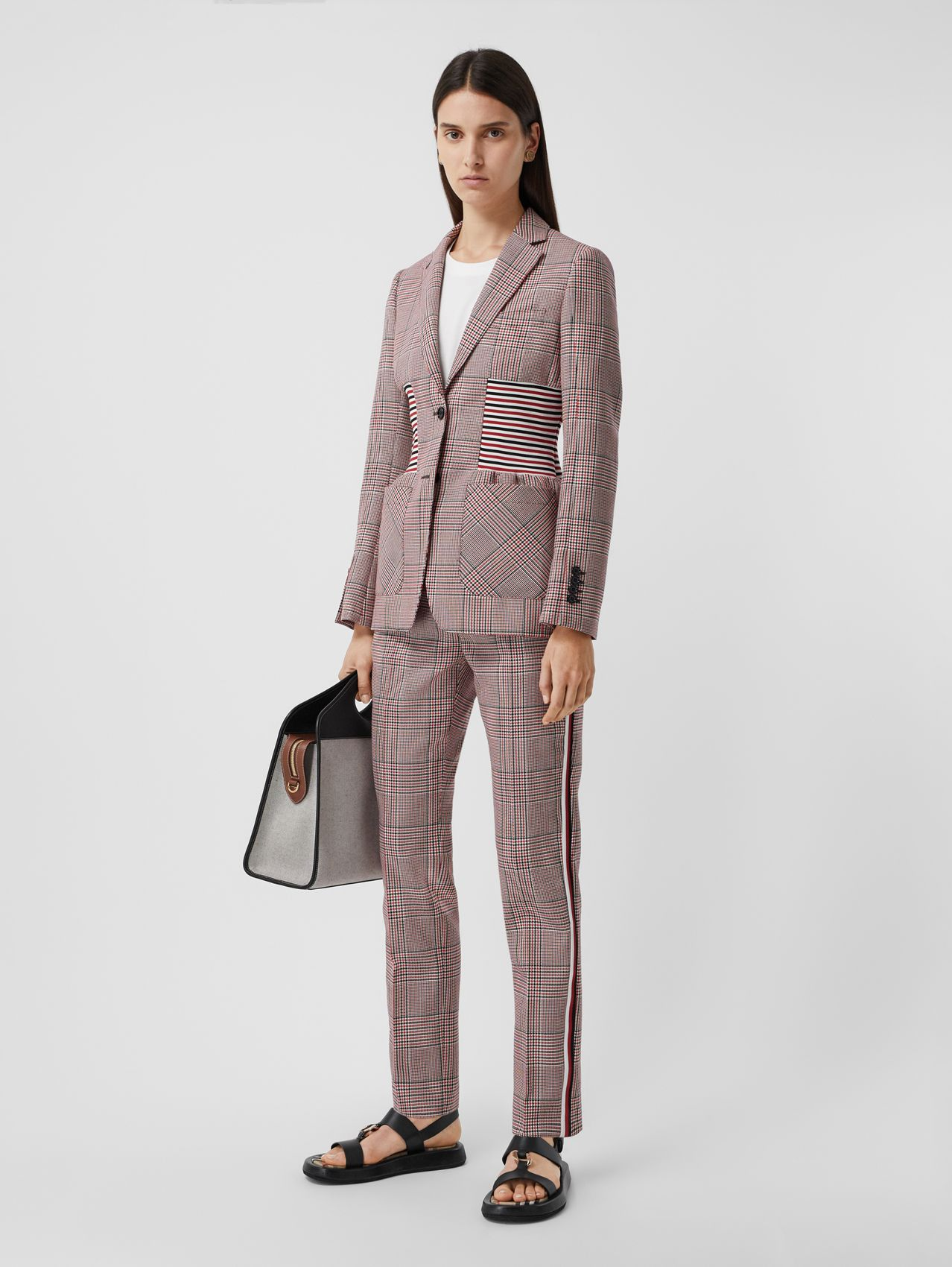 Side Stripe Houndstooth Check Wool Tailored Trousers in Bright Red