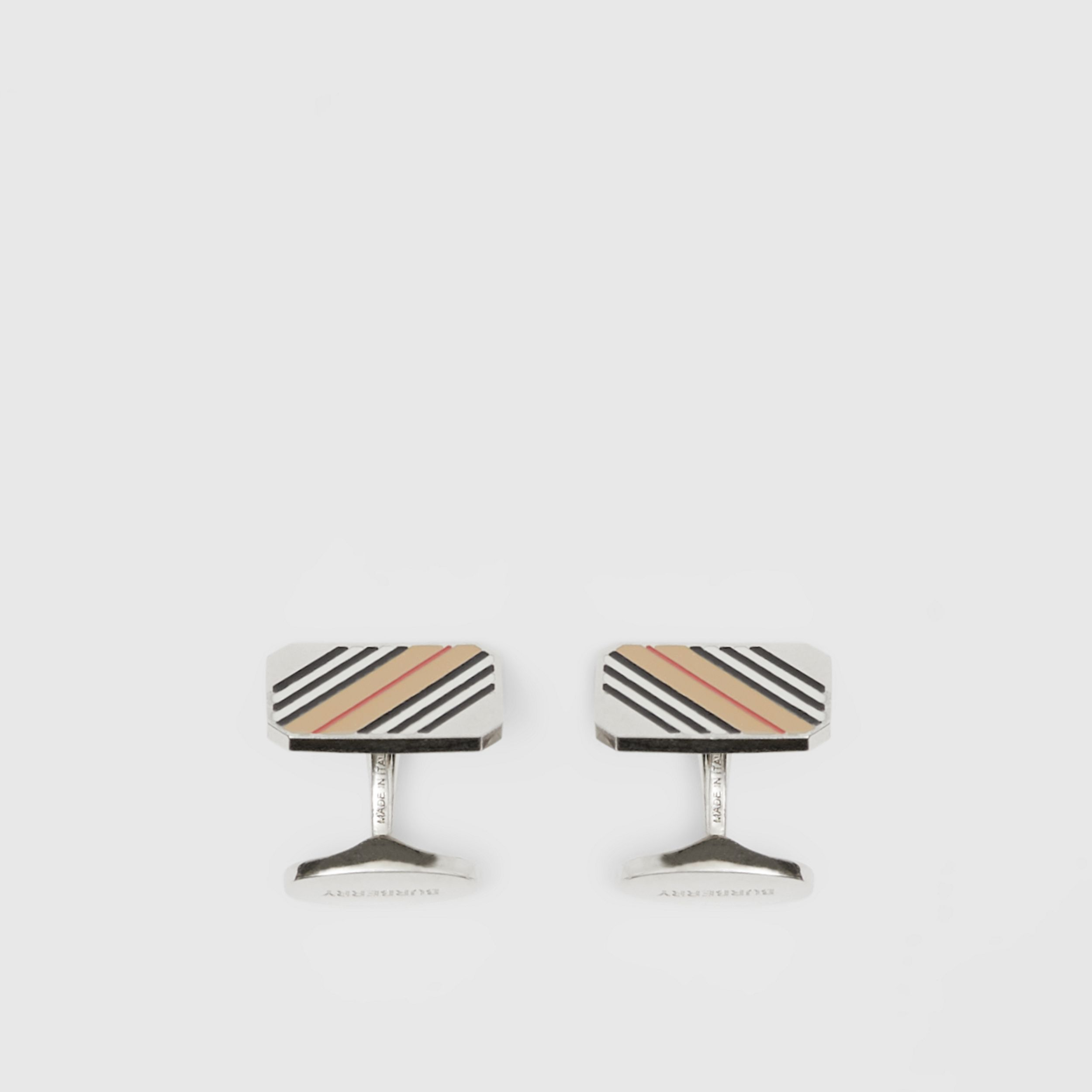 Icon Stripe Palladium-plated Cufflinks - Men | Burberry Australia - 3
