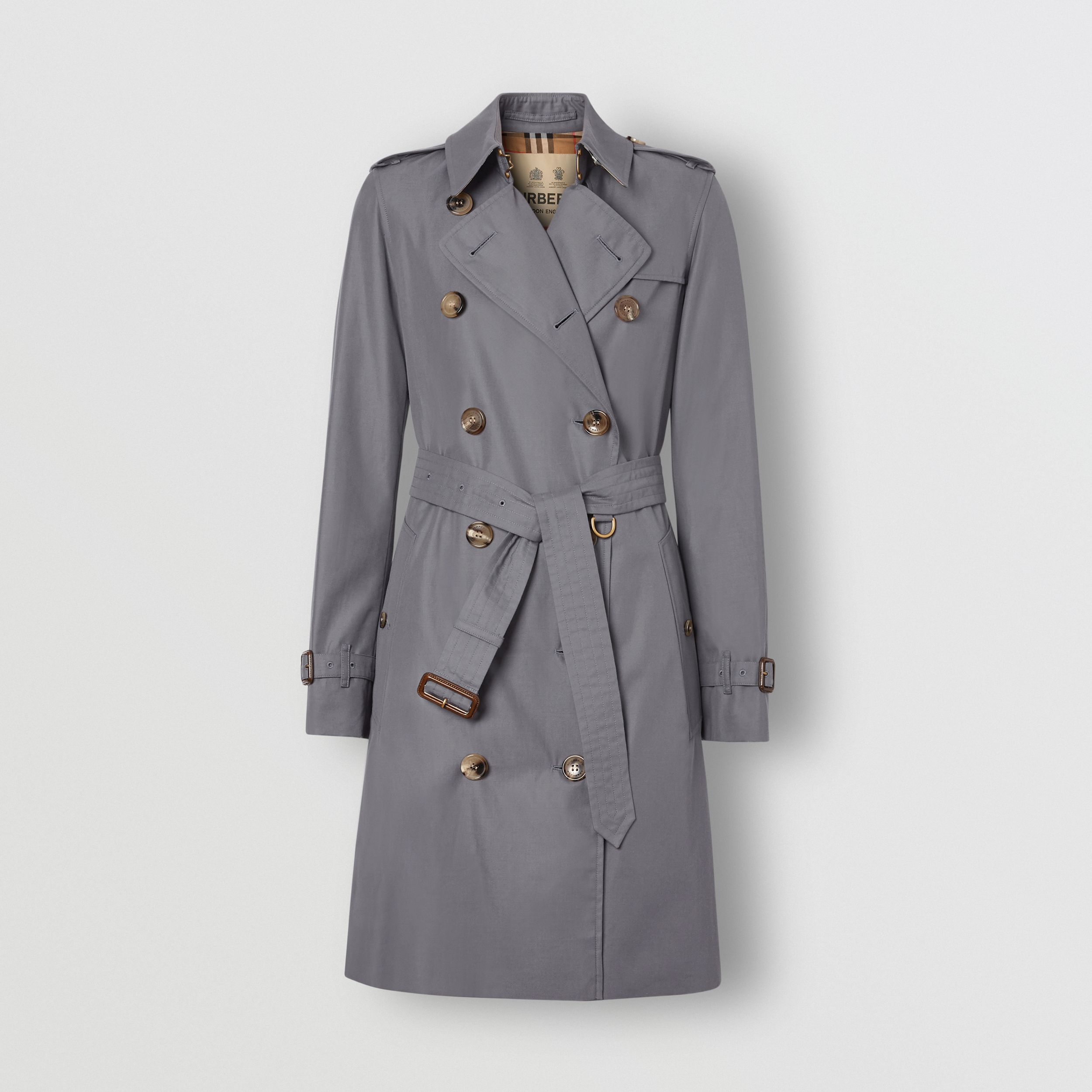 The Mid-length Kensington Heritage Trench Coat in Grey - Women | Burberry - 3