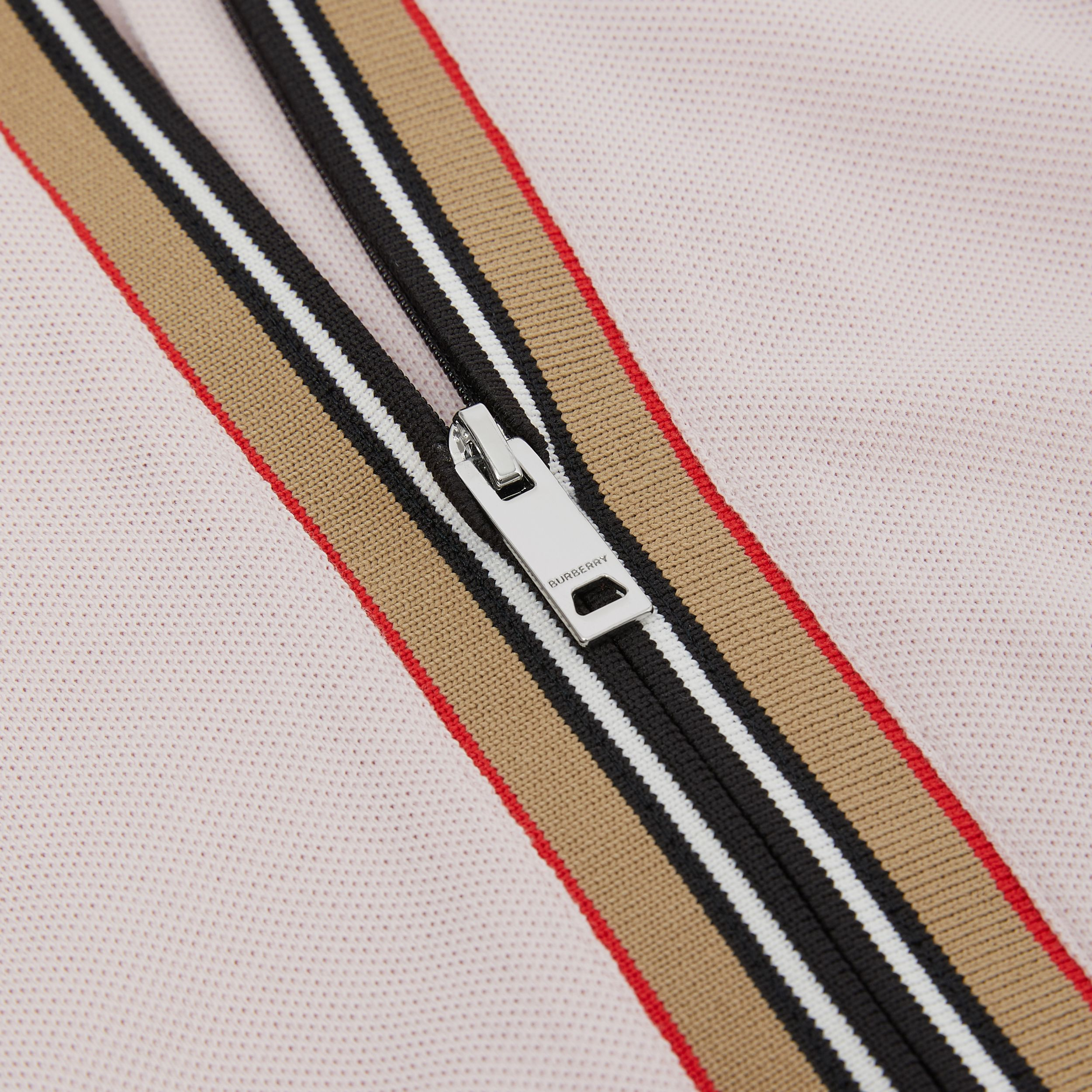 Icon Stripe Detail Cotton Sleeveless Polo Shirt Dress in Pastel Pink | Burberry - 2